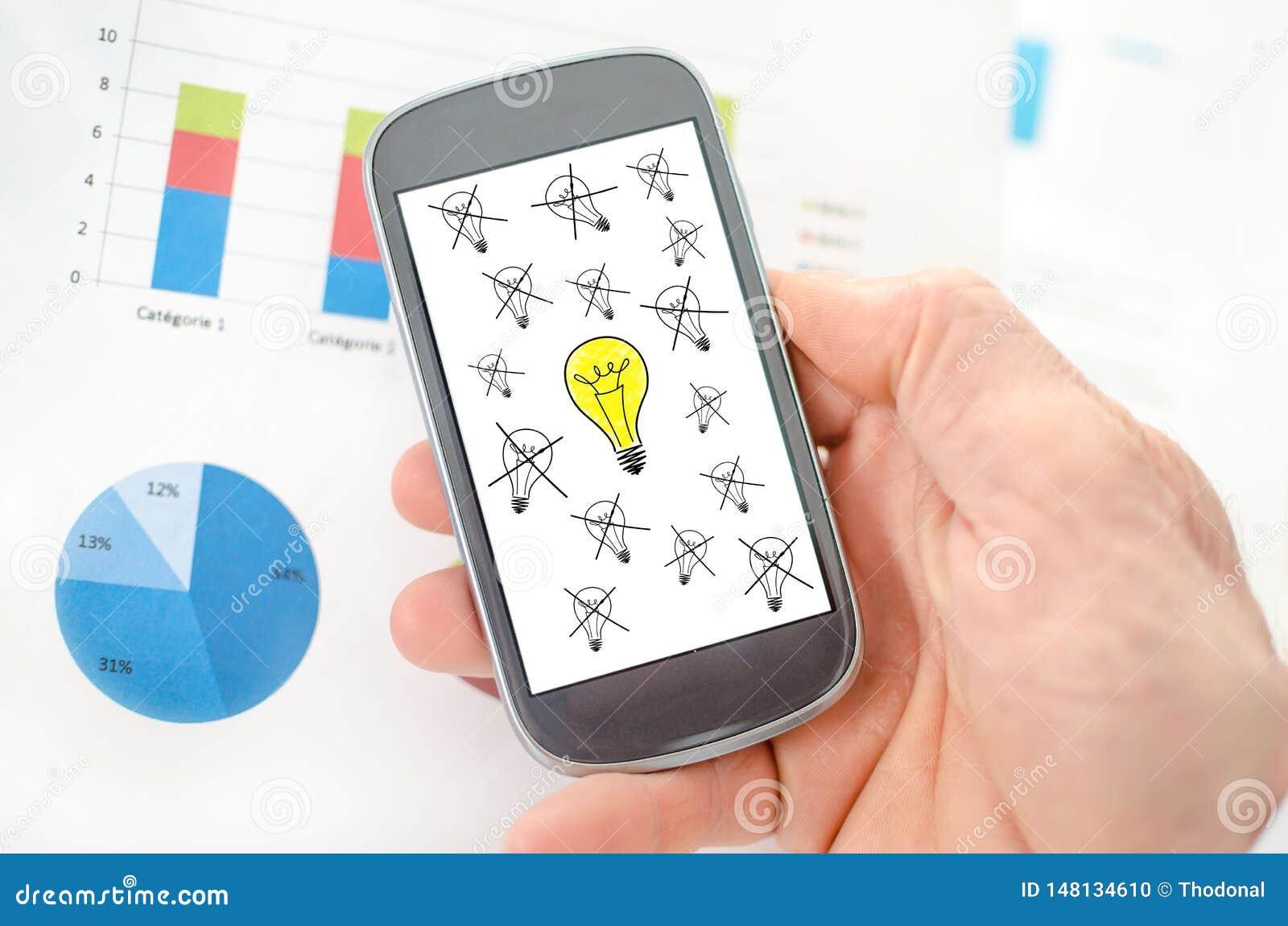 Beste ideeconcept op een smartphone