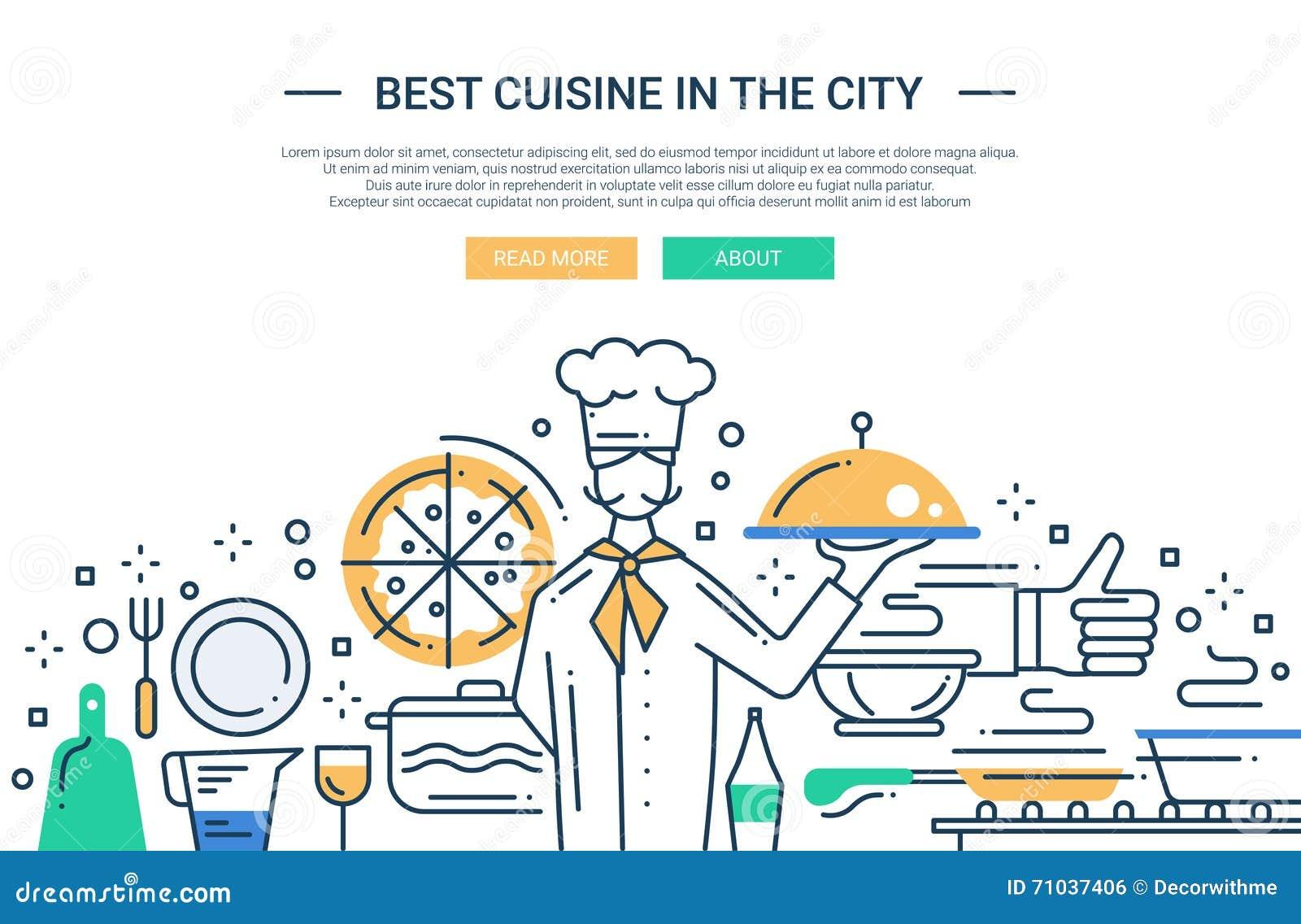 Beste Kuche In Der Stadt Zeichnen Sie Designwebsitefahne Vektor