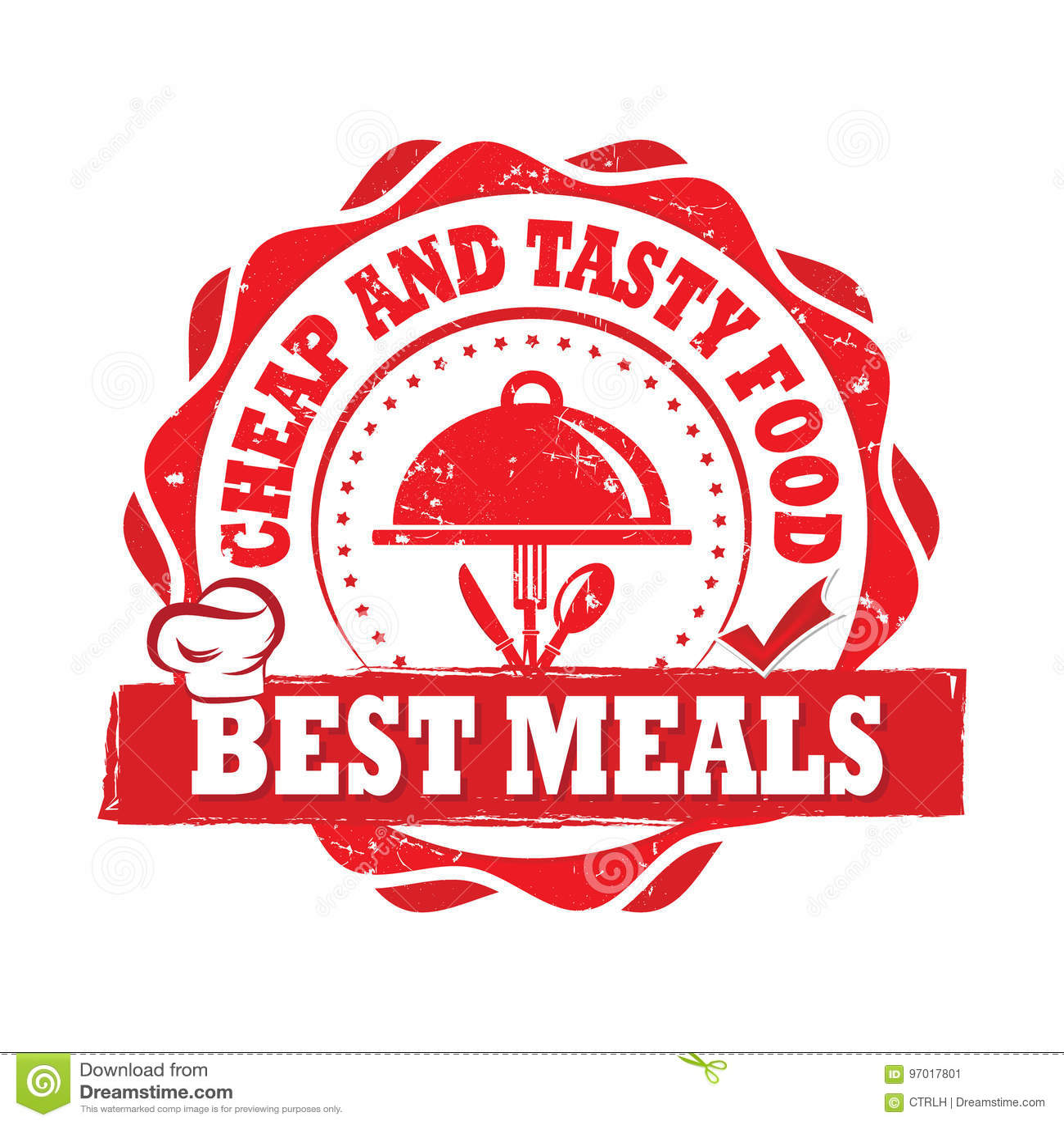 Beste Maaltijd, Goedkoop en Smakelijk voedsel - geëtiketteerd voor het drukken geschikt