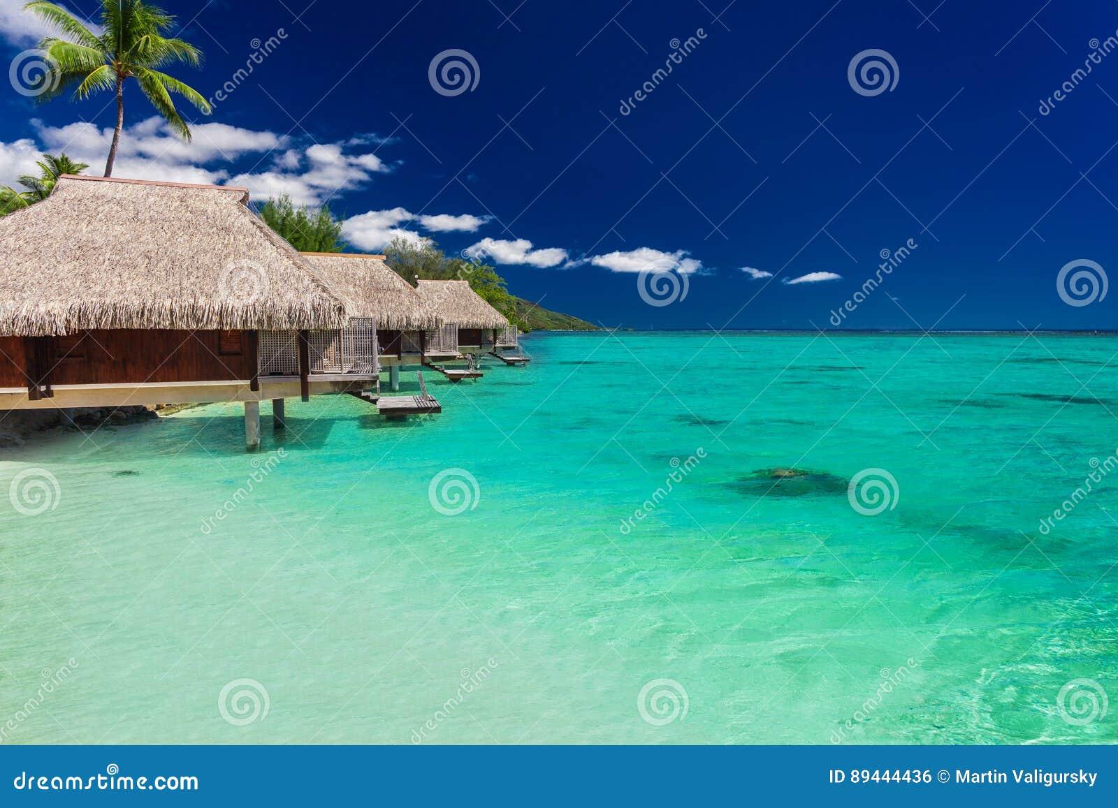 Beste overwaterbungalowwen op een tropisch eiland met trillend strand