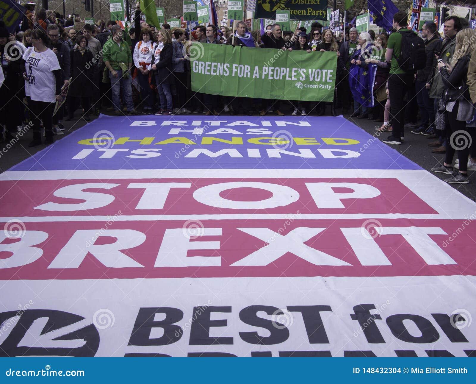 Beste voor de sociale campagnevoerders die van Groot-Brittanni? tegen Brexit protesteren