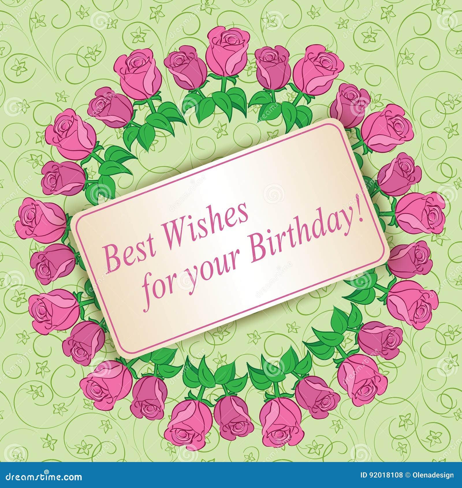 Beste Wensen Voor Uw Verjaardag Vectorgroetkaart Met Rozen