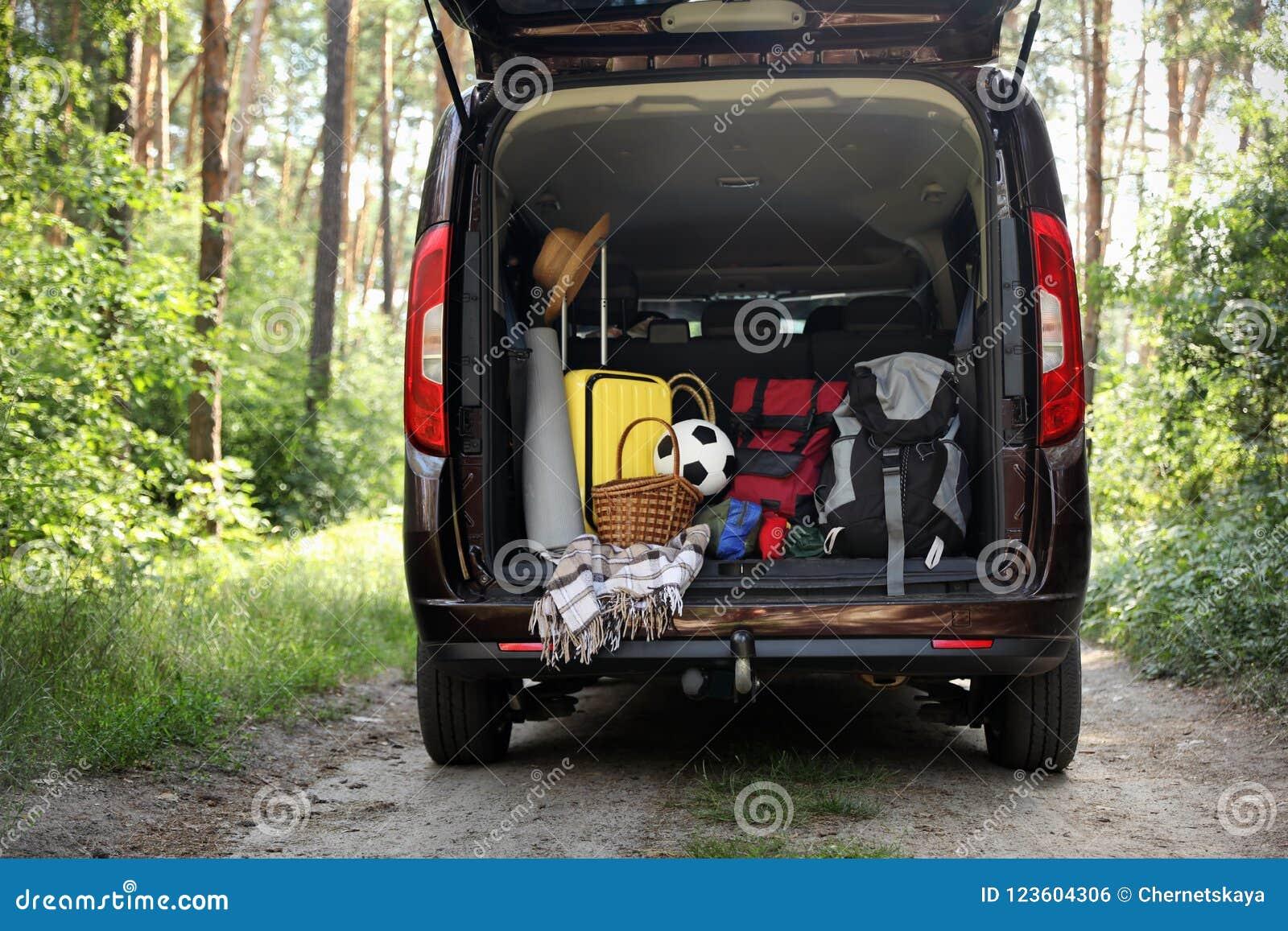 Bestelwagen met het kamperen materiaal in boomstam