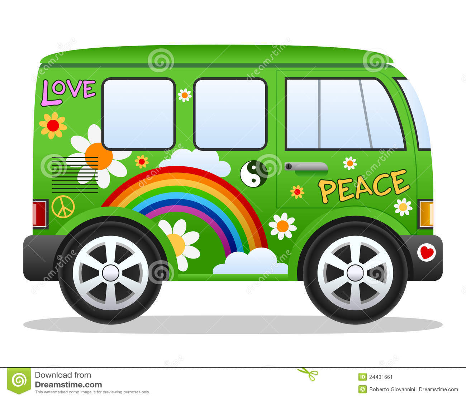 Bestelwagen van de Hippie van het beeldverhaal Retro