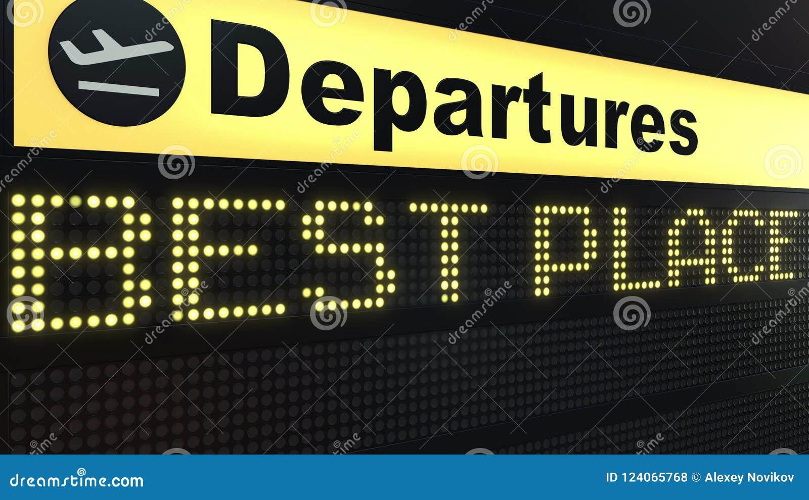 BESTER PLATZ fasst das Erscheinen auf Flughafenabfahrtbrett ab Begriffswiedergabe 3d