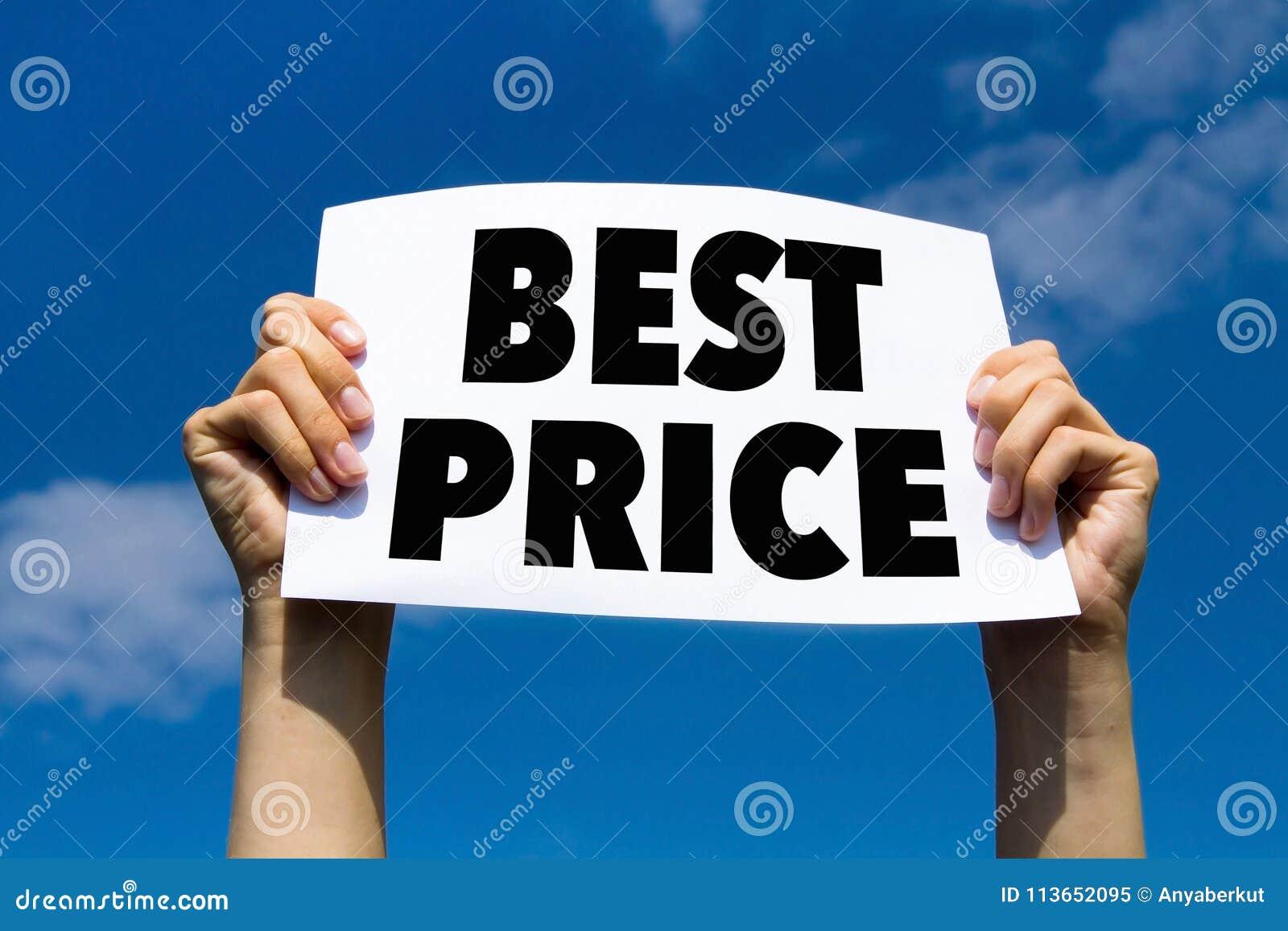 Bester Preis, Konzept, übergibt das Halten des Papierzeichens