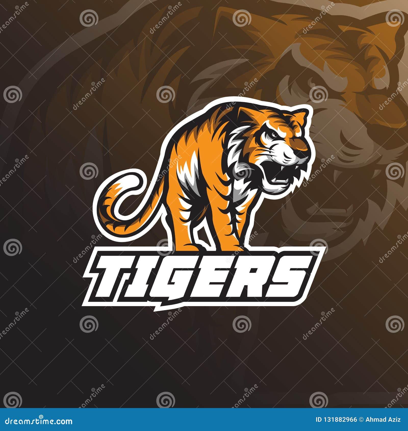 Bestii maskotki logo projekta tygrysi wektor z odznaka emblemata pojęciem