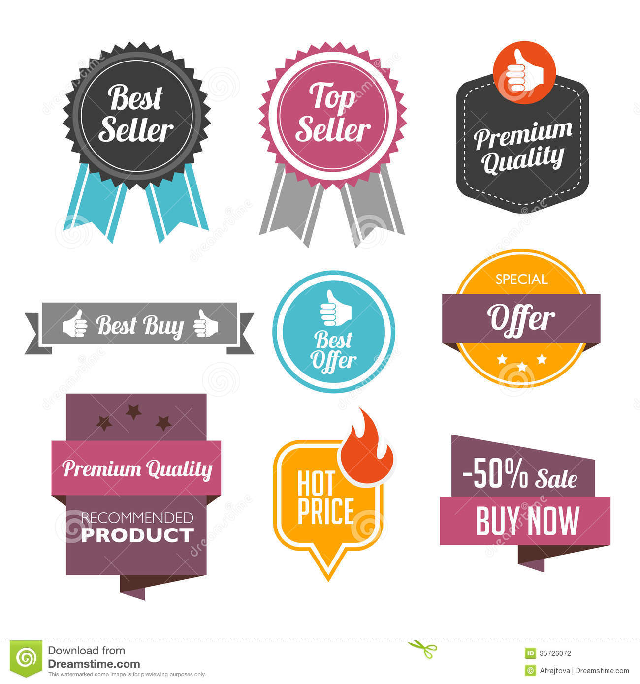 Bestseller Badges And Labels Stock Vector