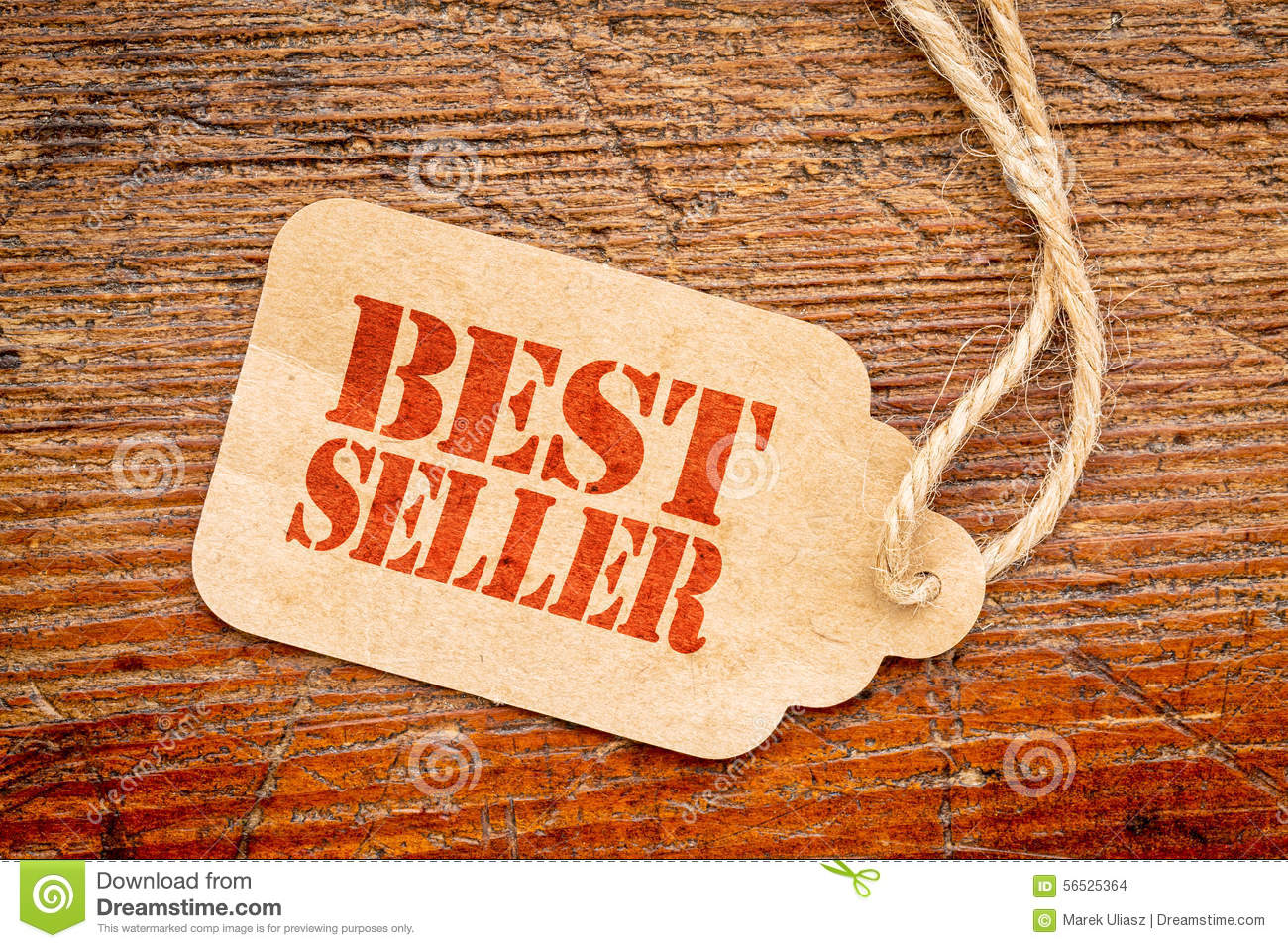 Bestseller sign on a price tag