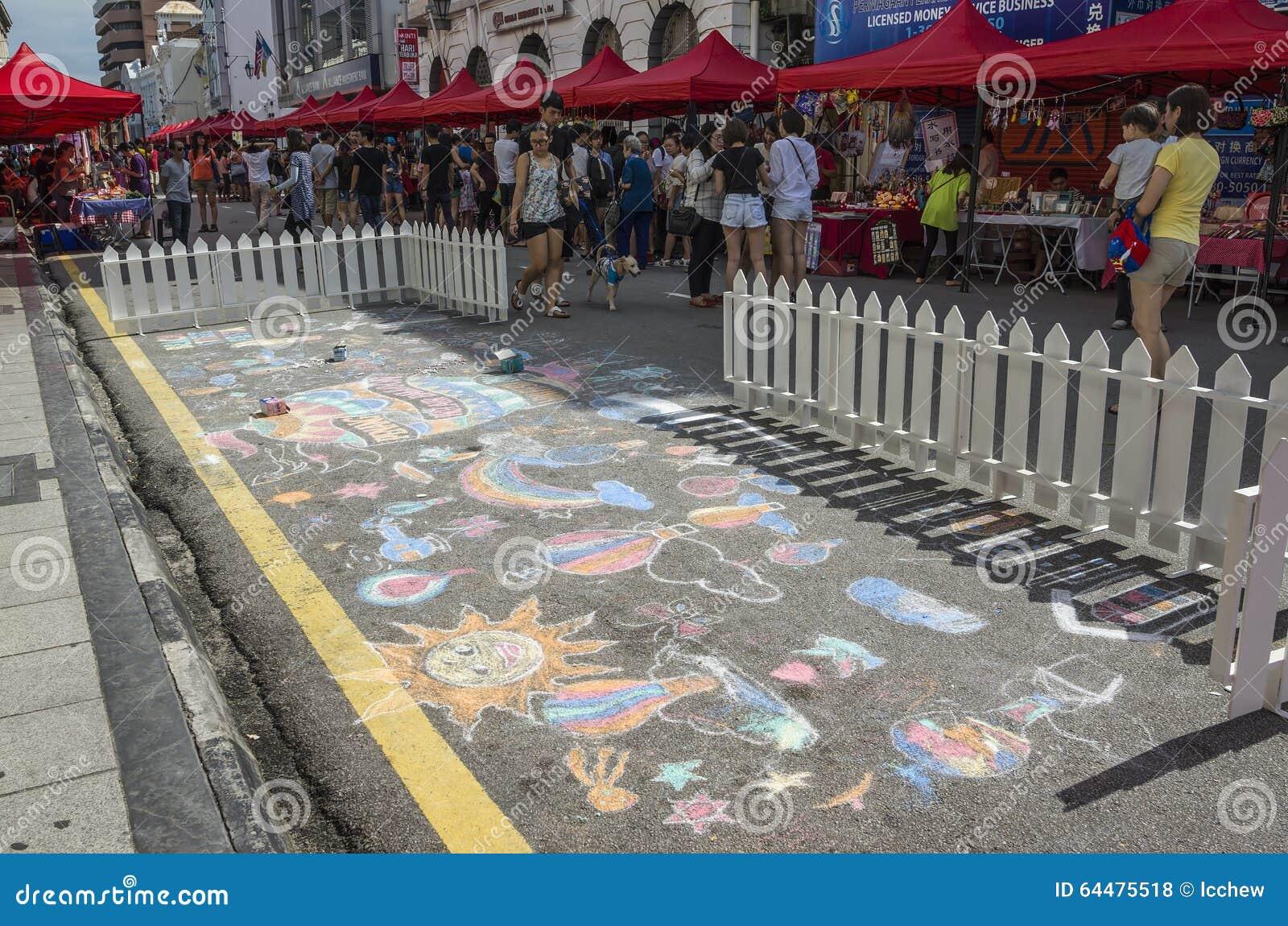Besucher Und Straßenzeichnung An Der Strand-Straße, Penang, Malaysia ...