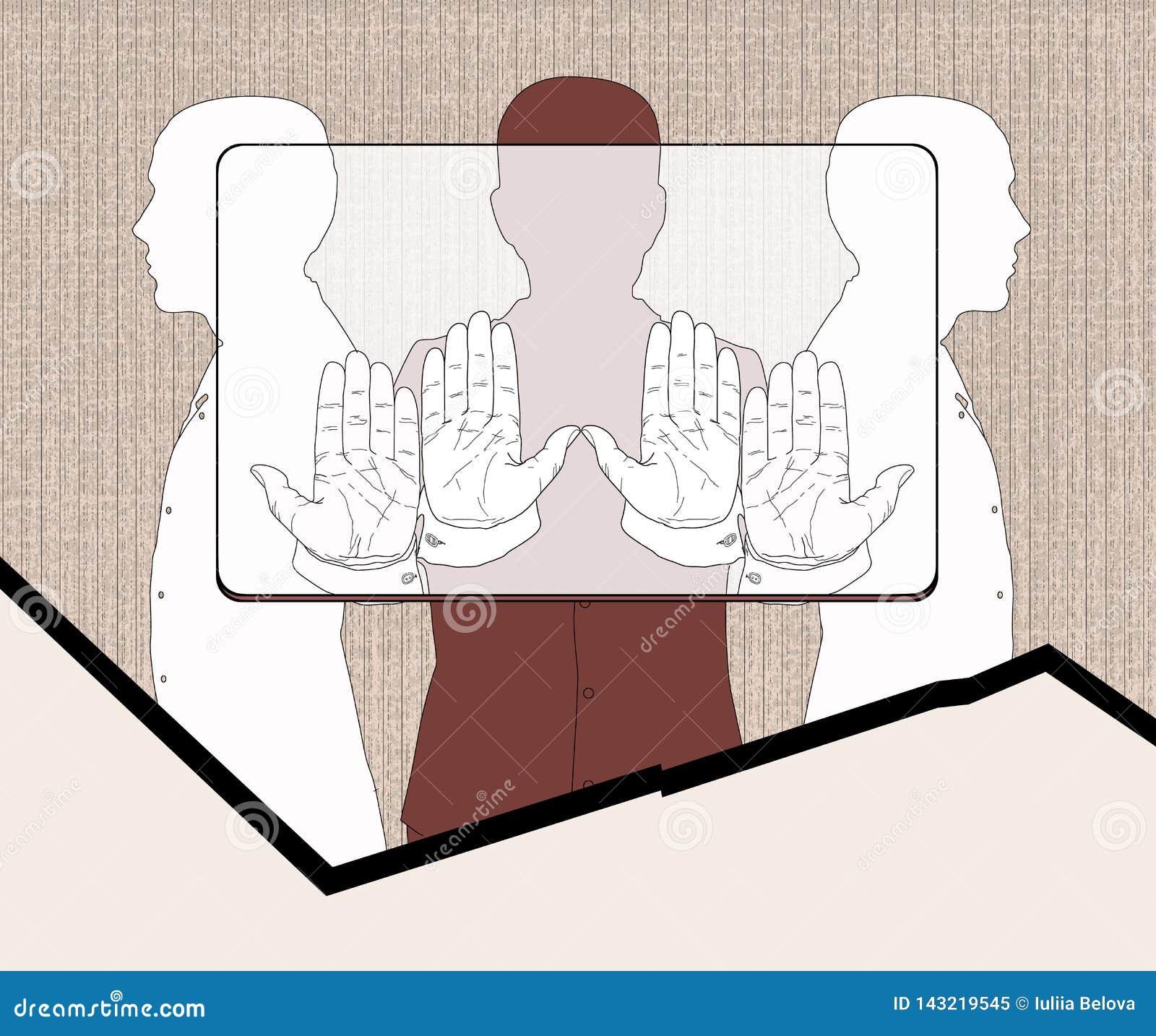 Betaalpashouders Drie silhouetten van mensen die een voorlopige rechthoek, volgens de aandelen houden die aan het verbod beantwoo