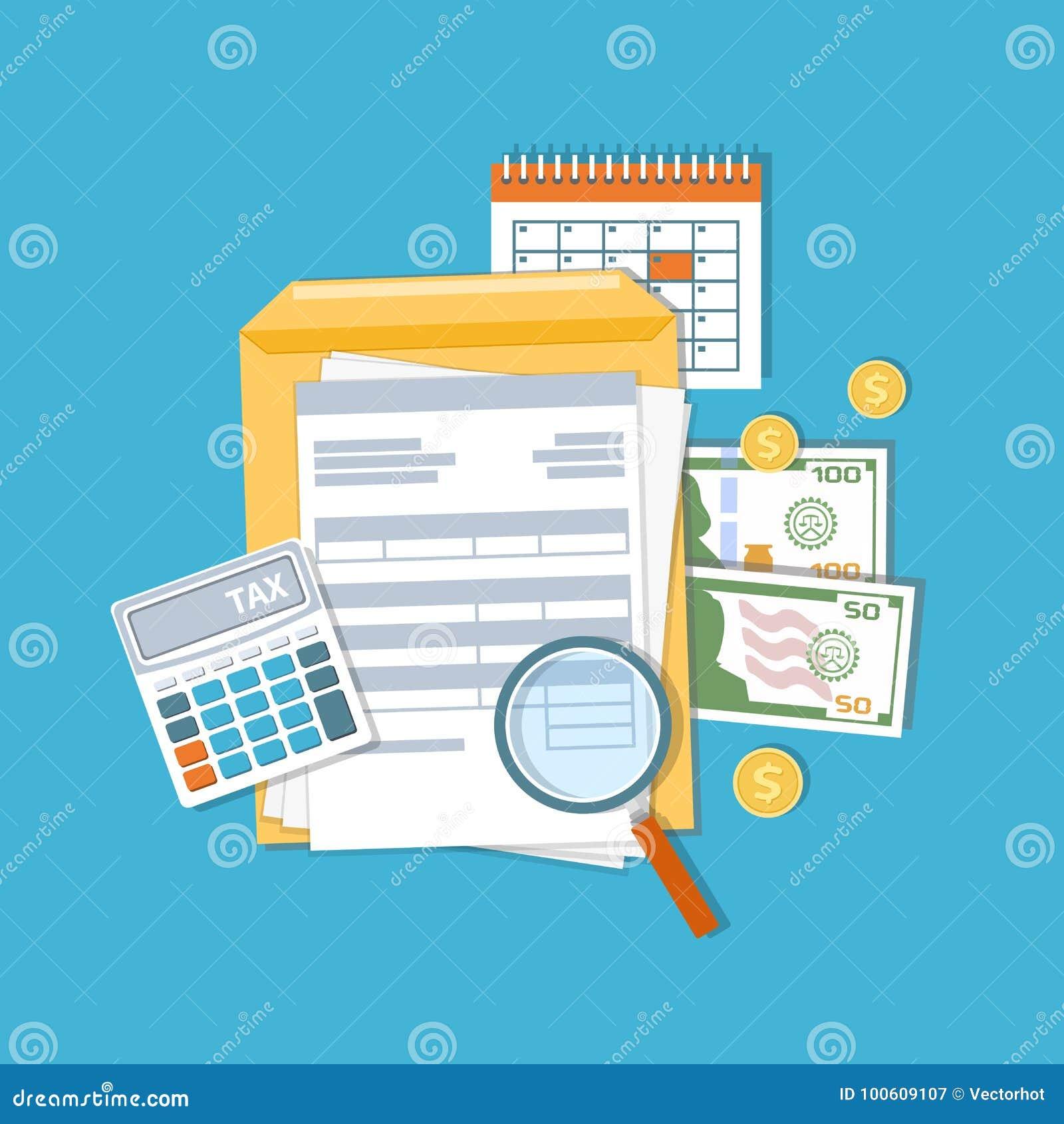 Betaling van belasting en rekeningenconcept Financiële kalender, rekeningen Betaaldagpictogram
