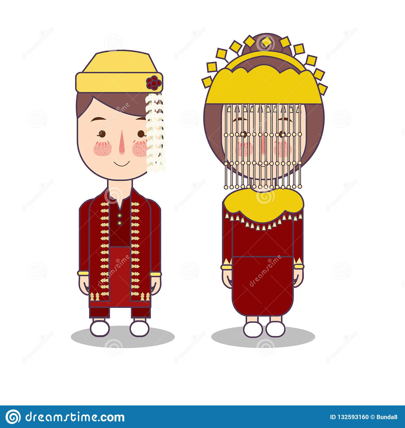 Betawi Jakarta Couple Traditional National Clothes Of Indonesia Set
