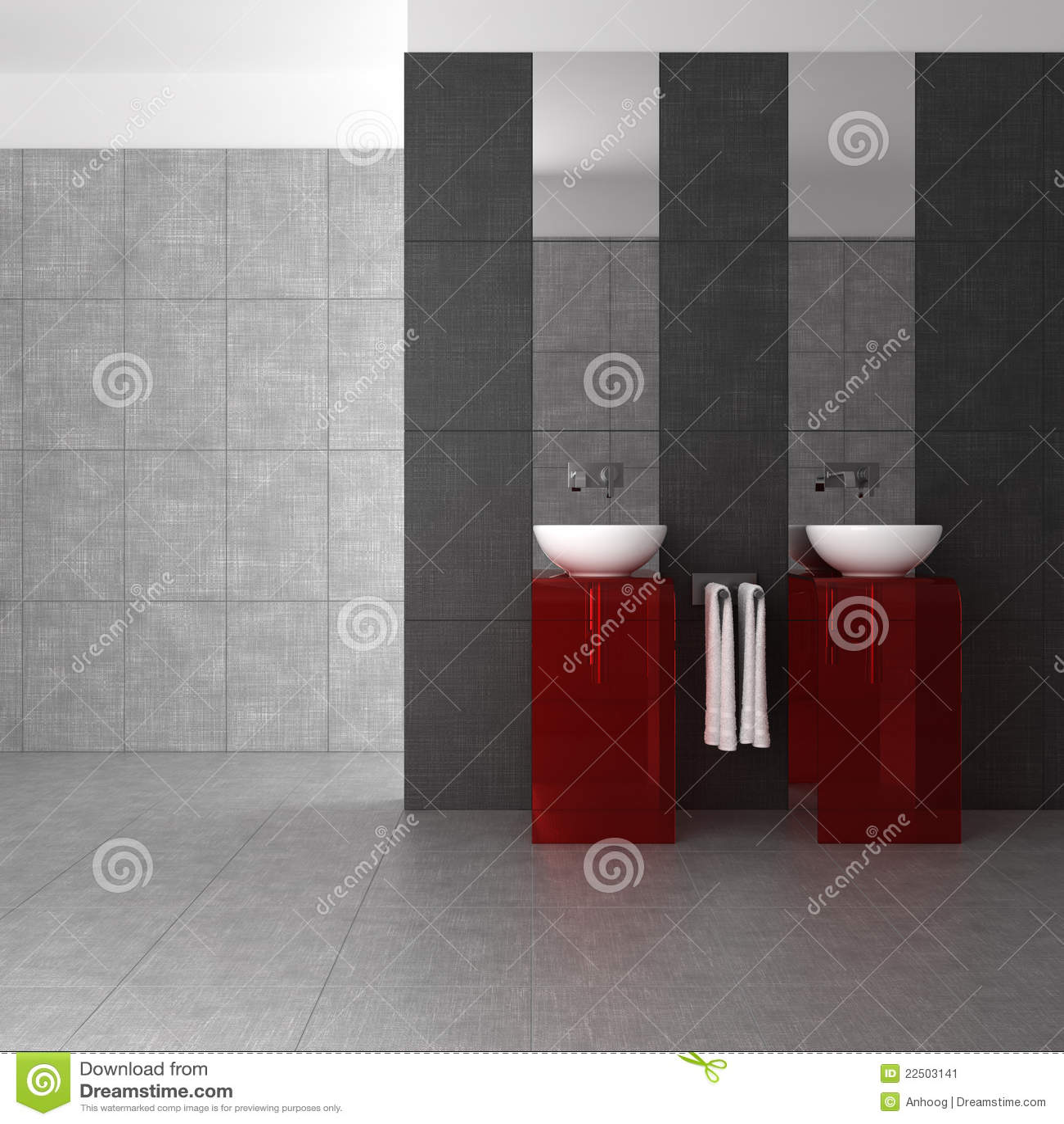 Betegelde badkamers met dubbel bassin stock afbeelding beeld 22503141 - Betegelde rode badkamer ...