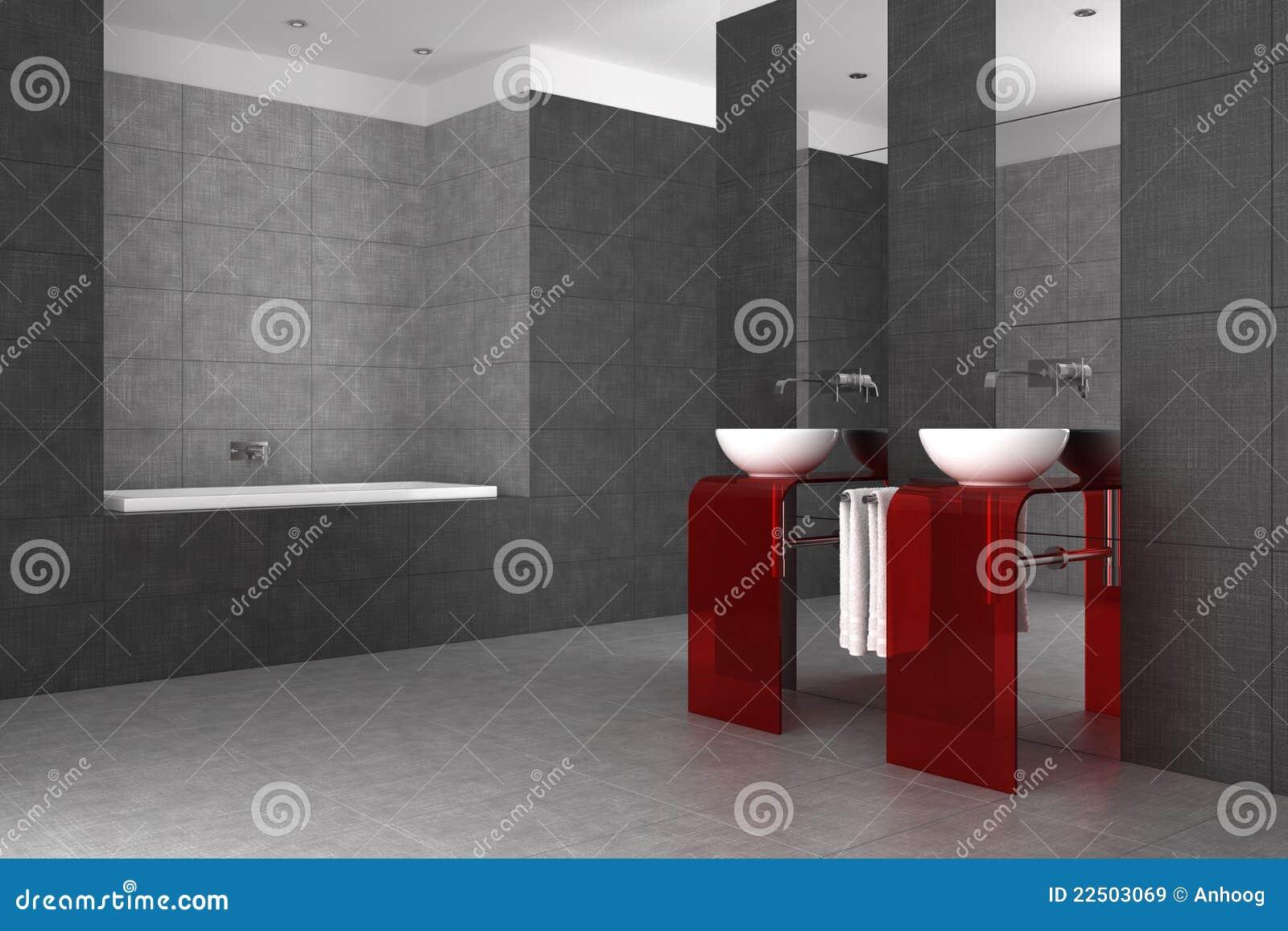 Betegelde badkamers met dubbele bassin en badkuip royalty vrije stock afbeeldingen afbeelding - Betegelde rode badkamer ...