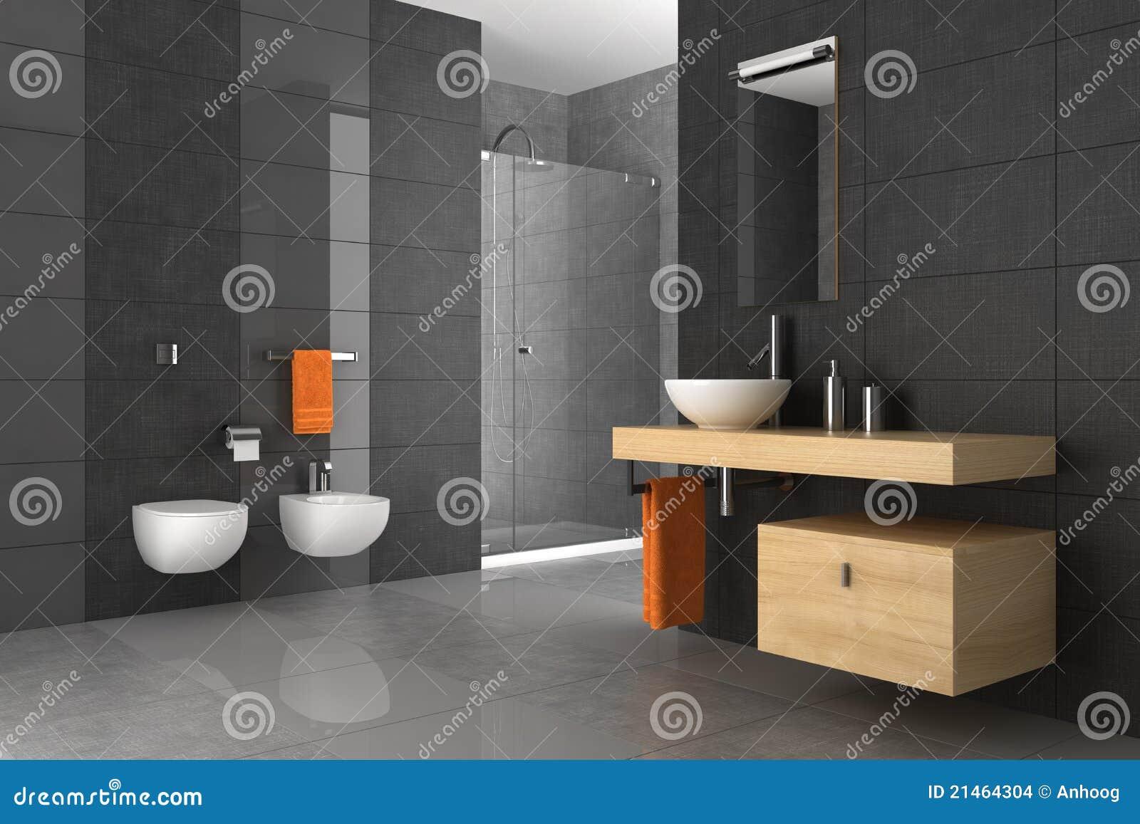 Betegelde badkamers met houten meubilair stock afbeeldingen afbeelding 21464304 - Betegelde rode badkamer ...