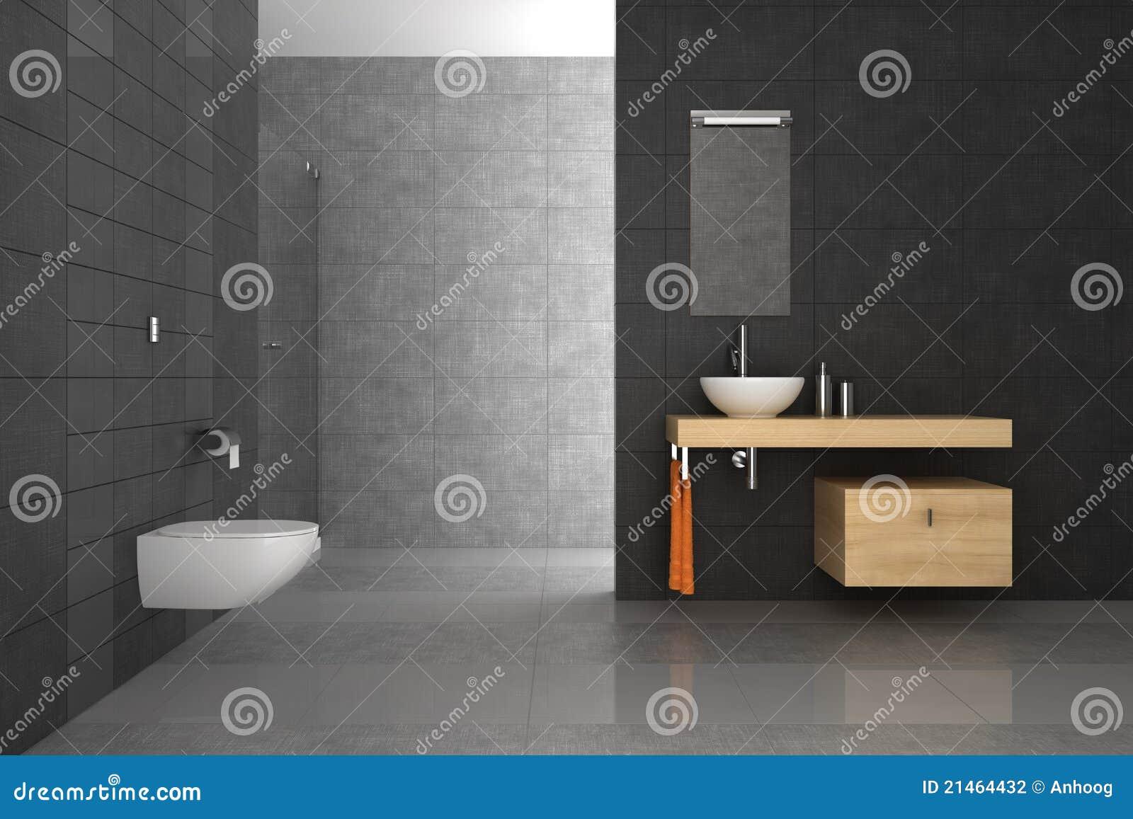 Moderne badkamers met grijze tegels en houten meubilair.