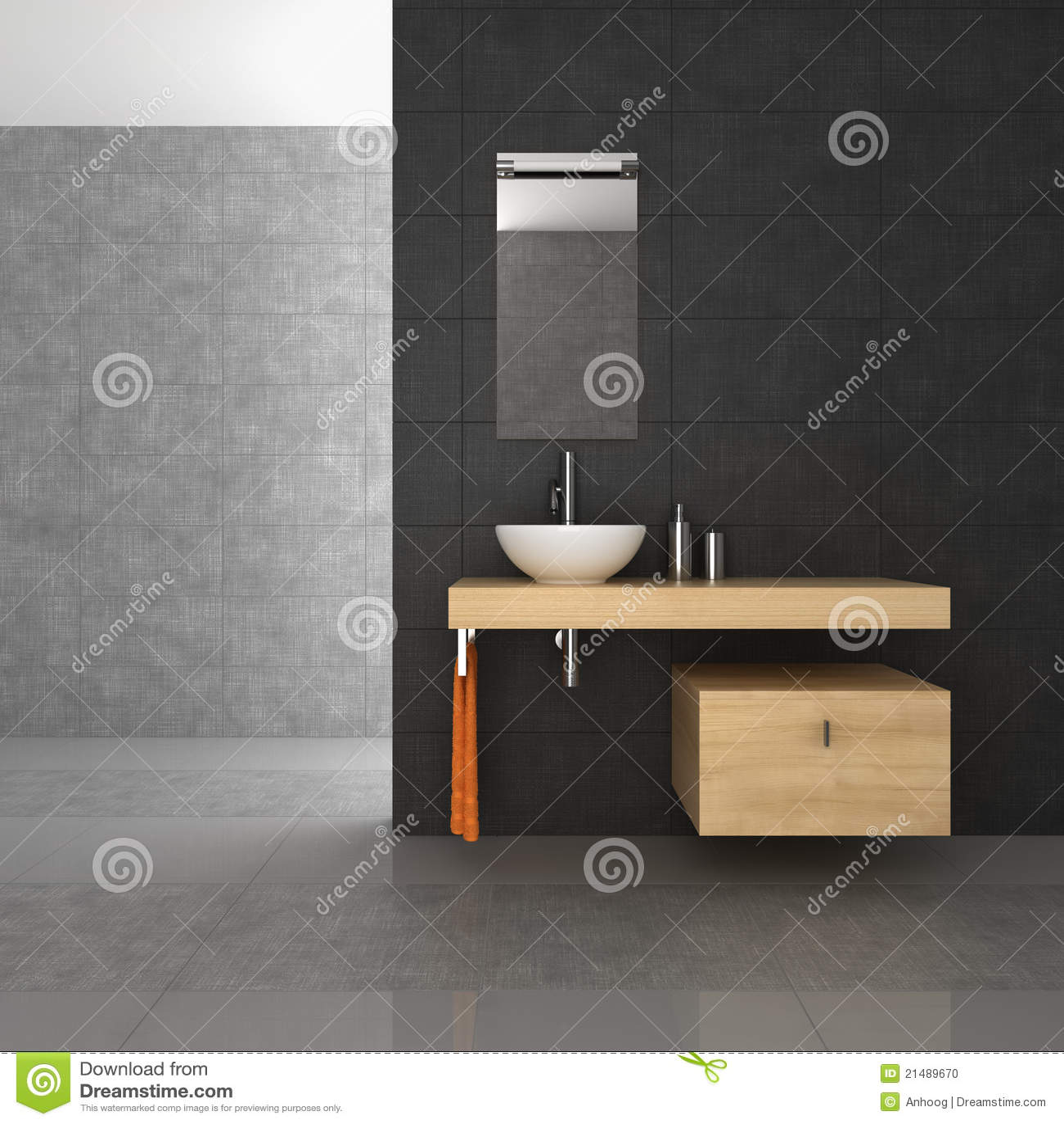 Betegelde badkamers met houten meubilair stock foto afbeelding 21489670 - Betegelde rode badkamer ...