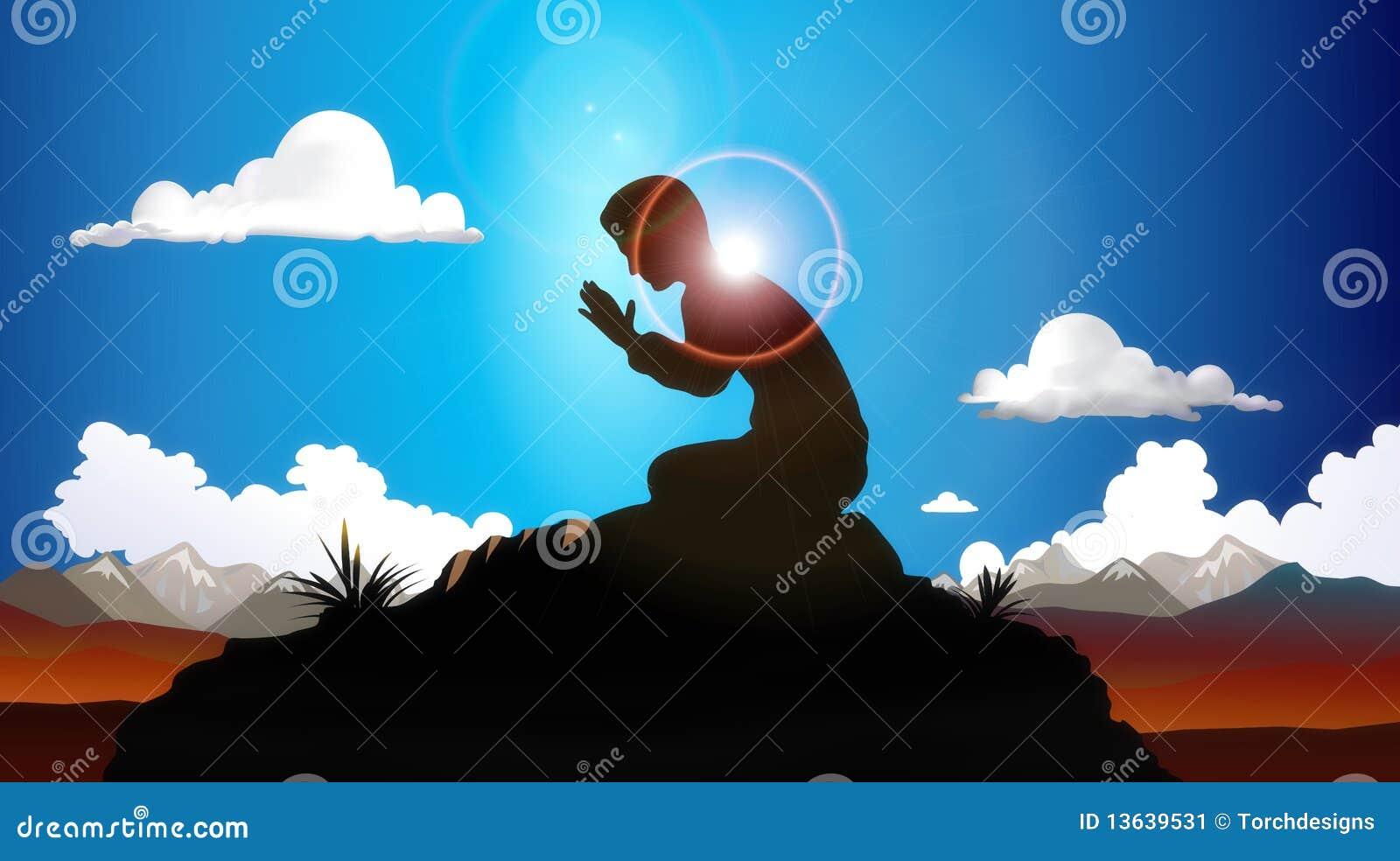 Beten an der Dämmerung stock abbildung. Illustration von ...