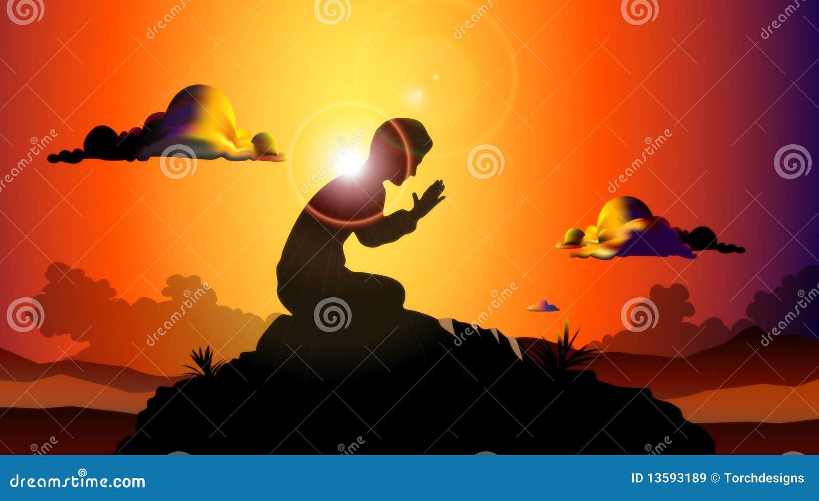 Beten am Sonnenuntergang stock abbildung. Illustration von gebete ...