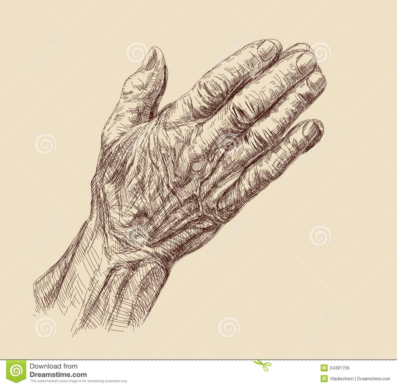 Old man hands drawing