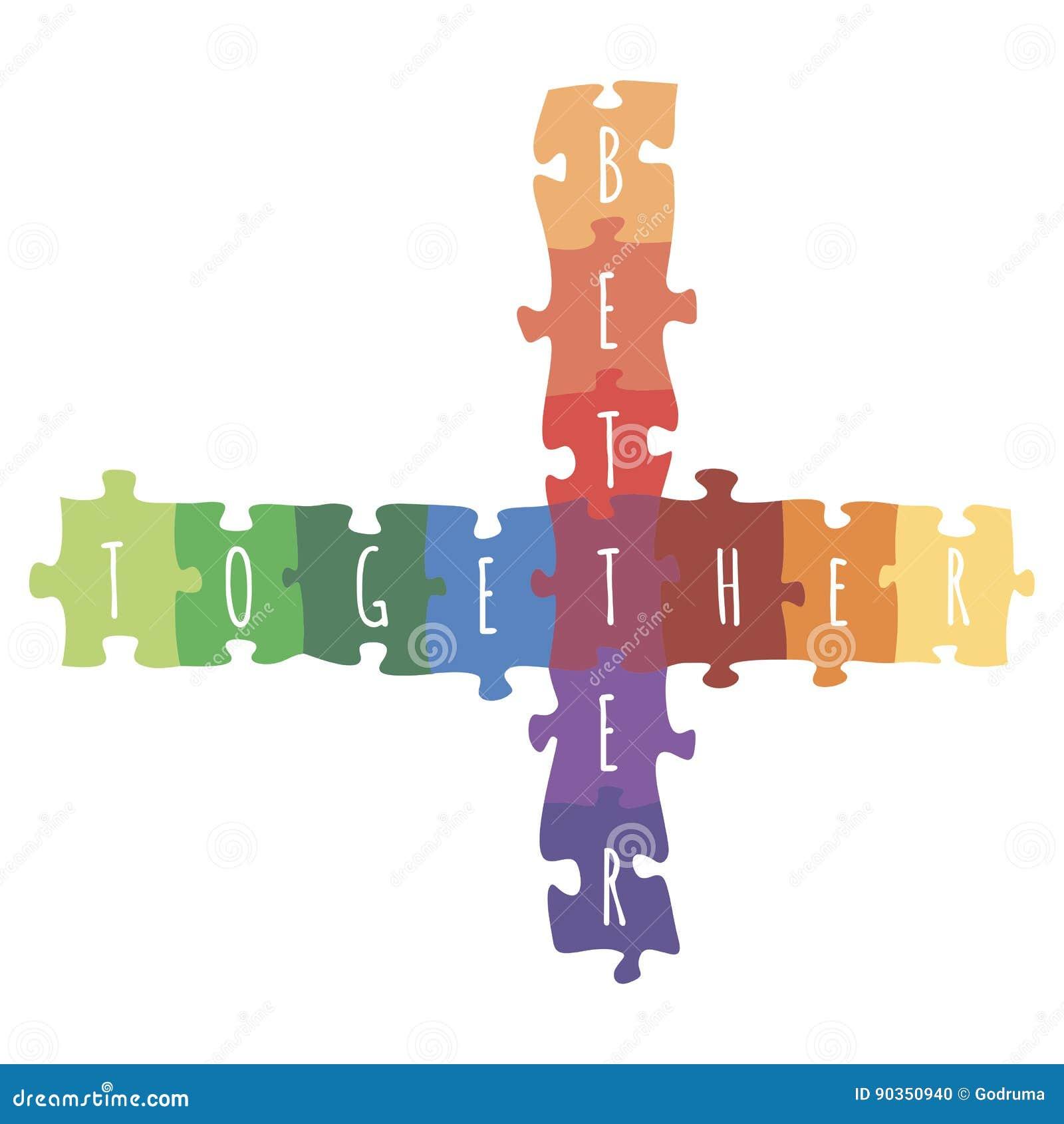 Beter samen logotype ontwerp van raadsel vector kleurrijke illustratie die wordt gemaakt