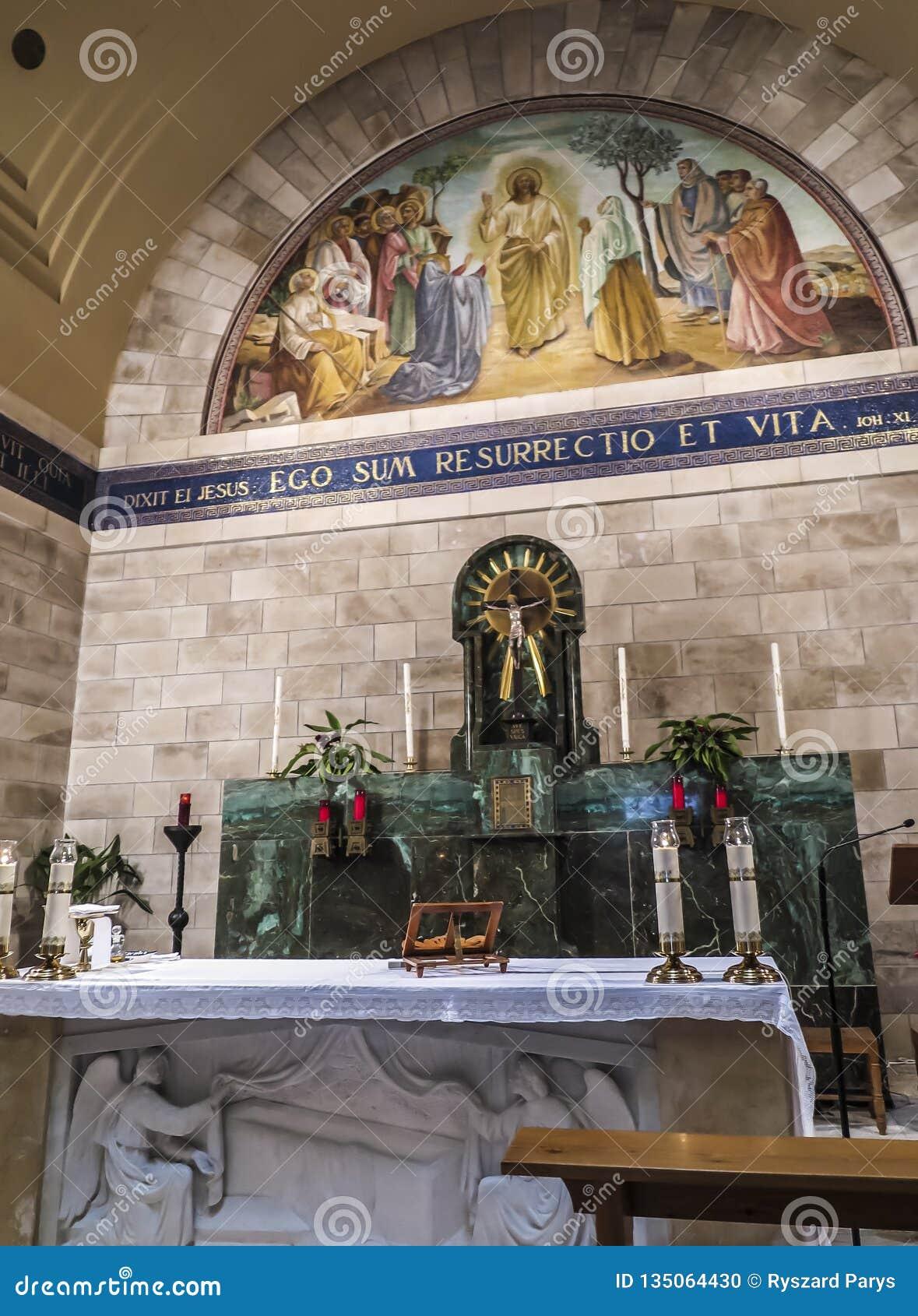 Bethany, Israel July 14, 2015 R  : Mosaic  Bethany Church In