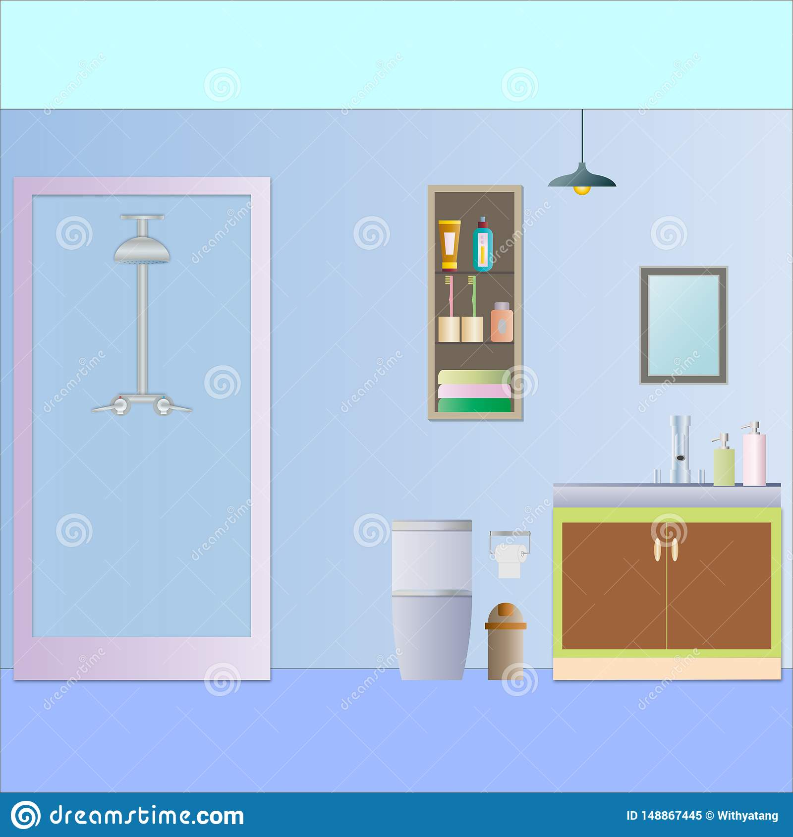 Bathroom with stall shower vector illustration.