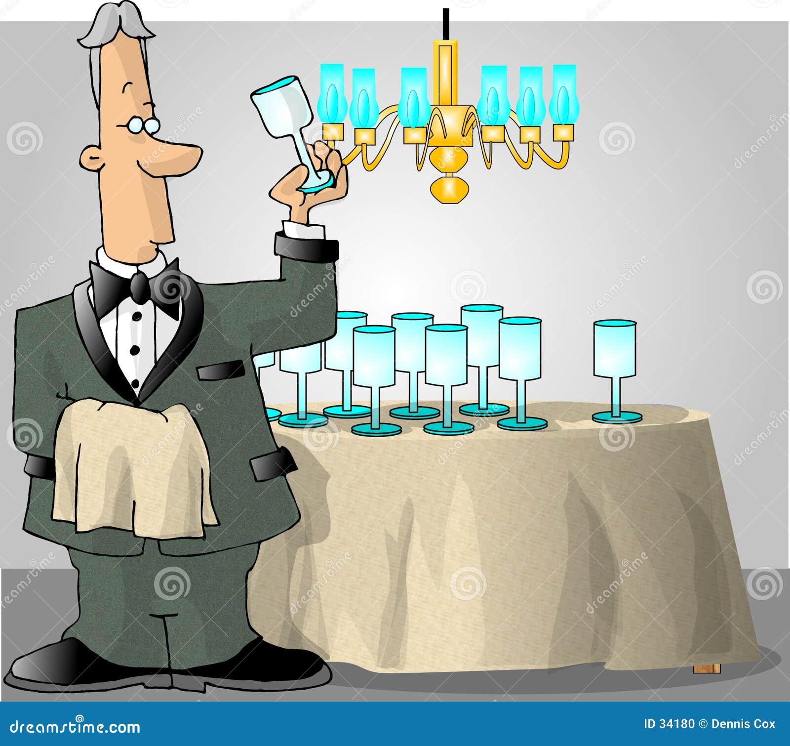 Betjänt som kontrollerar glasföremål