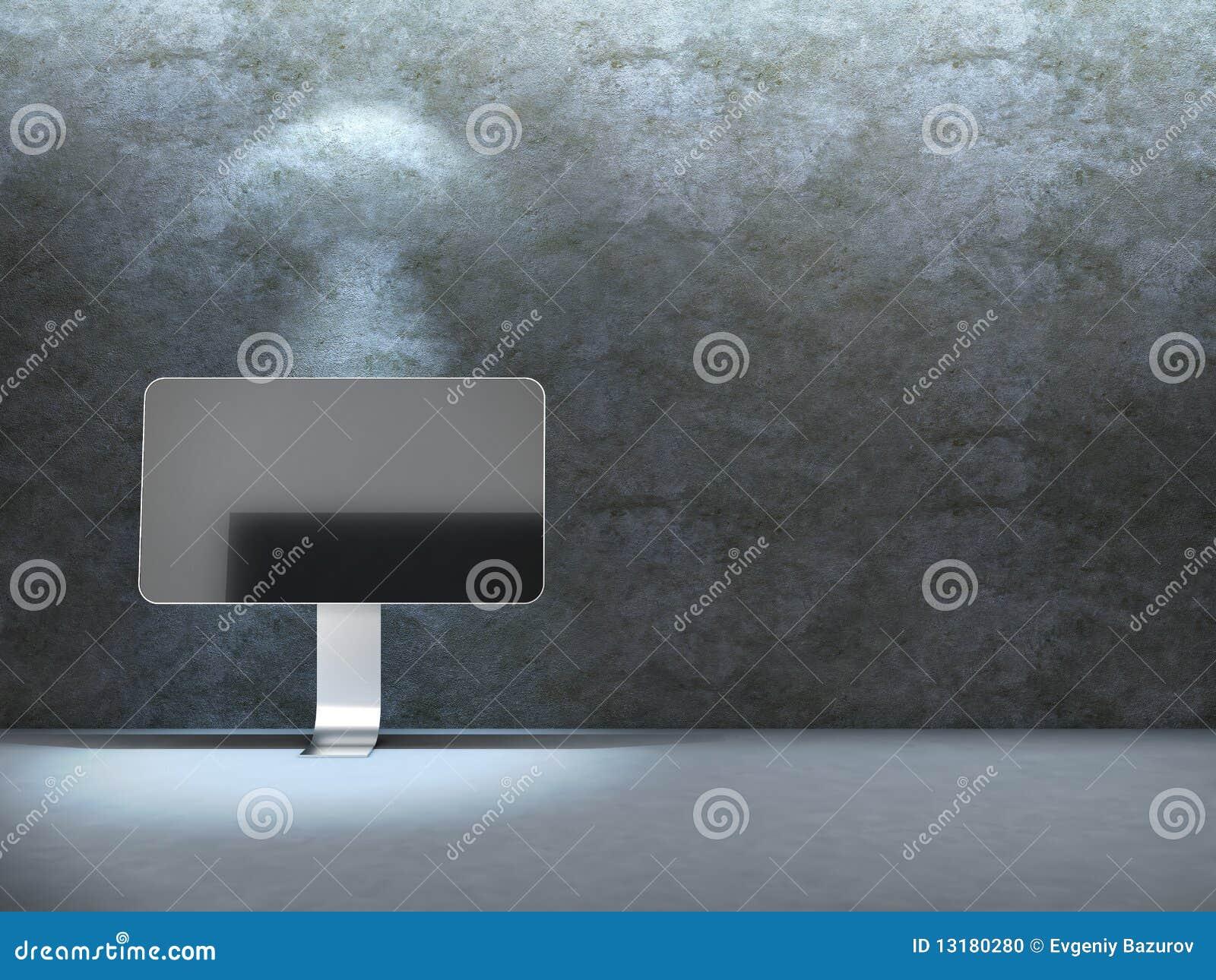 Beton μηνύτορας κοντά στον τοίχ&o