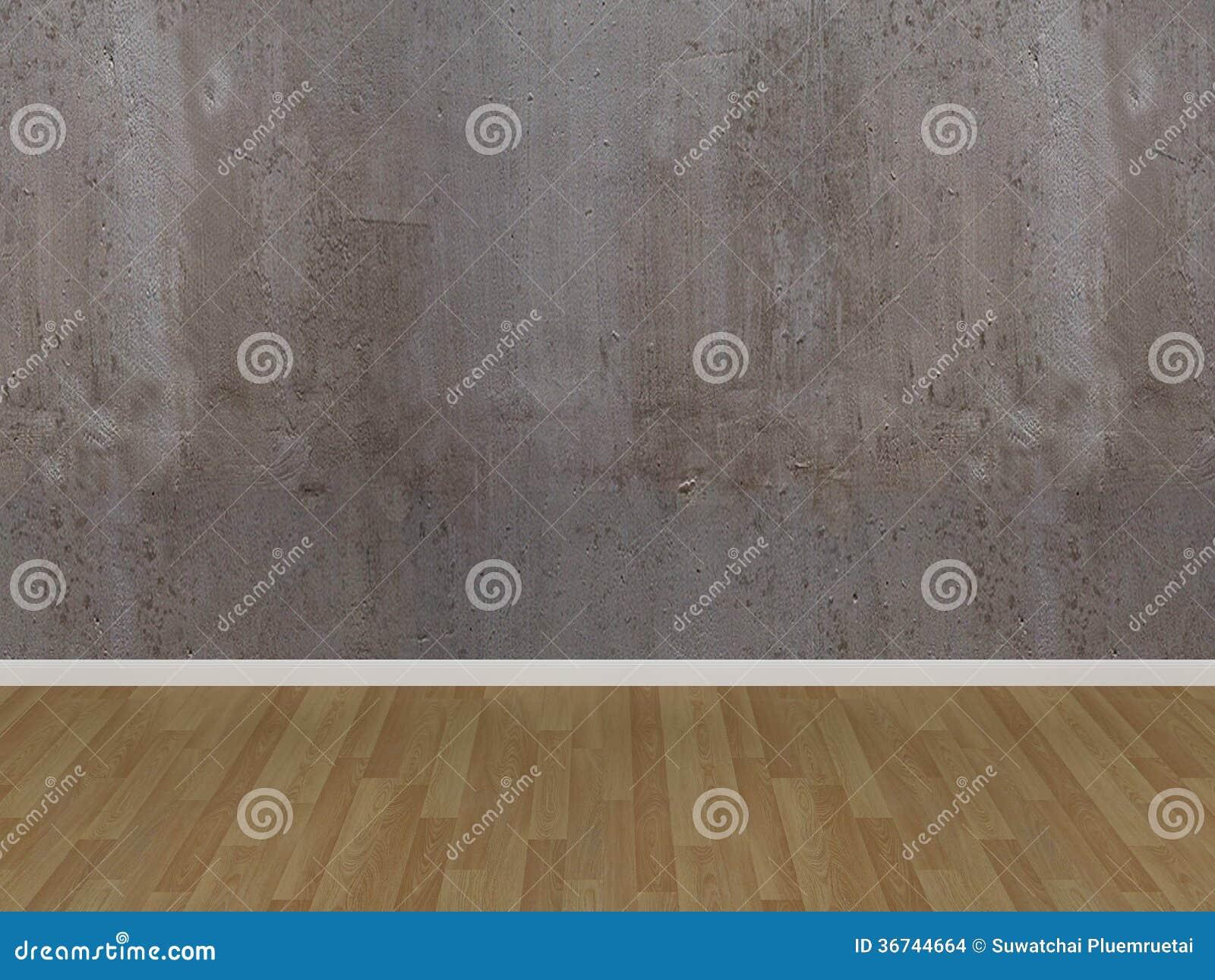 Betongvägg- Och Trägolv I Ett Tomt Rum Arkivbilder - Bild: 36744664