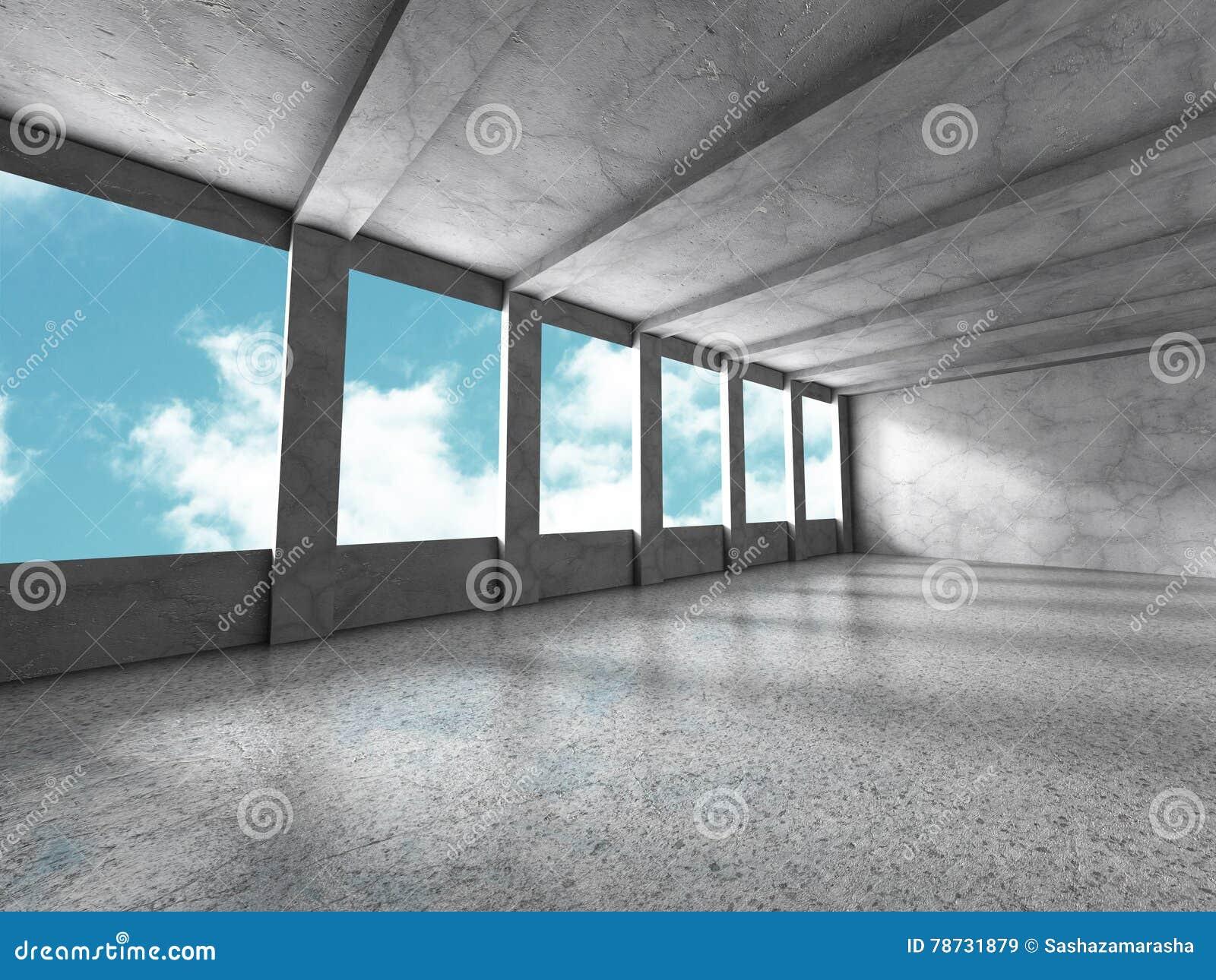 Betongväggar tömmer ruminre Abstrakt arkitektur med s