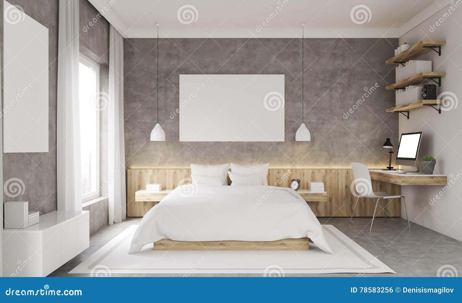 Betonowej ściany Sypialni Wnętrze Ilustracji Ilustracja