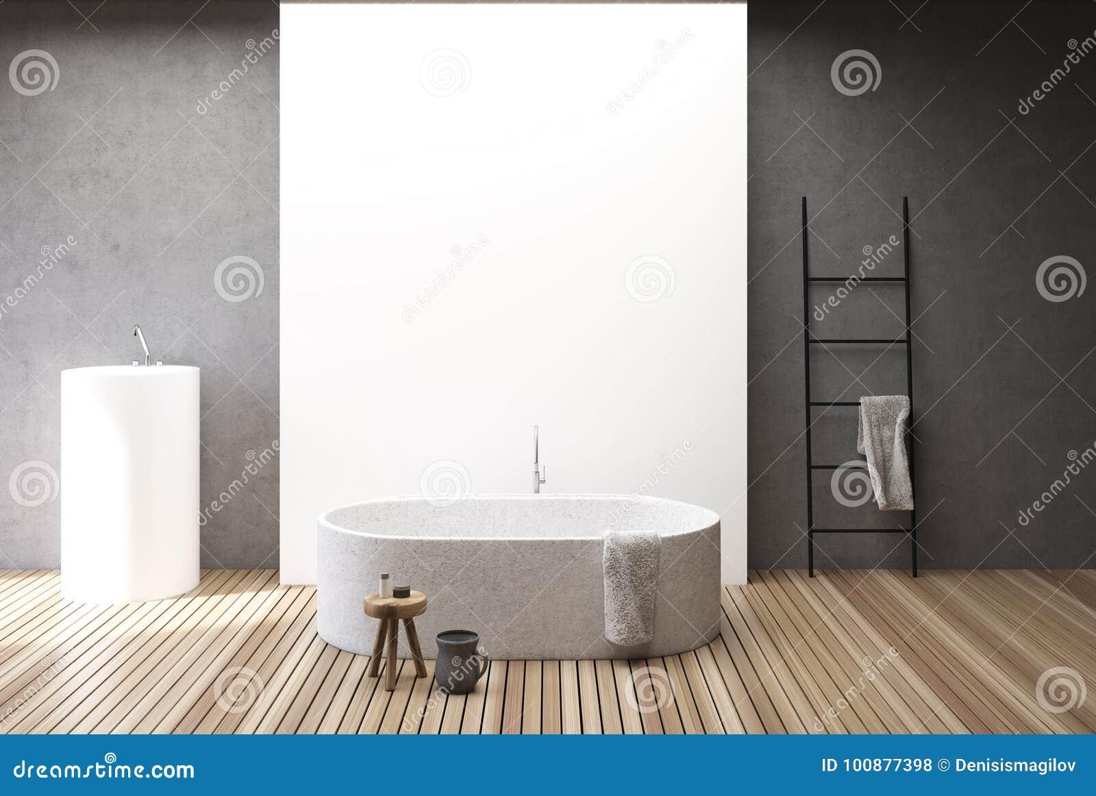 Betonowy I Biali łazienki Wnętrze Balia I Zlew Ilustracji