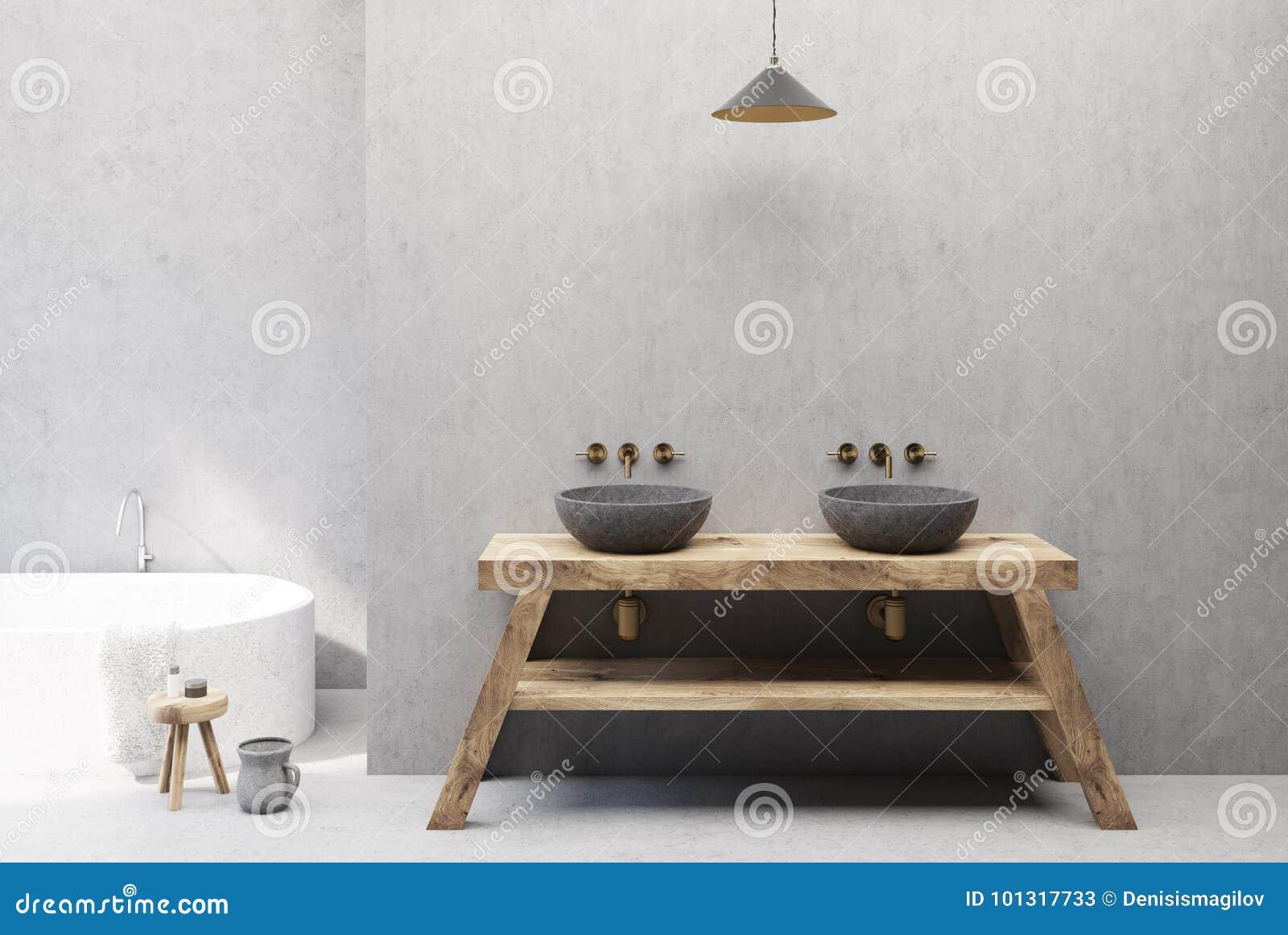 Betonowy I Drewniany łazienki Wnętrze Dwoisty Zlew Ilustracji