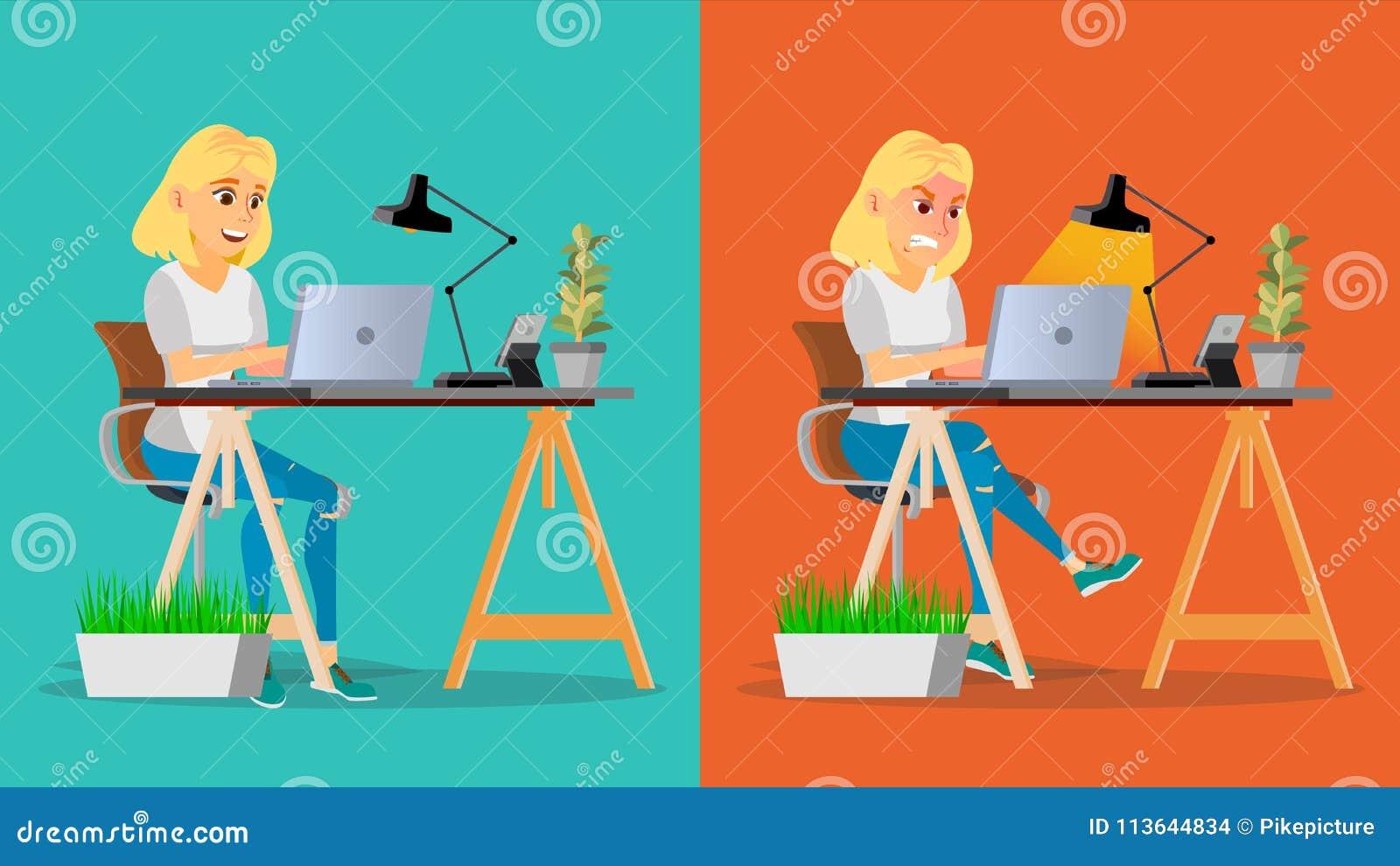 Betonter Heraus Frauen Vektor Blondes Madchen Das Im Buro Arbeitet