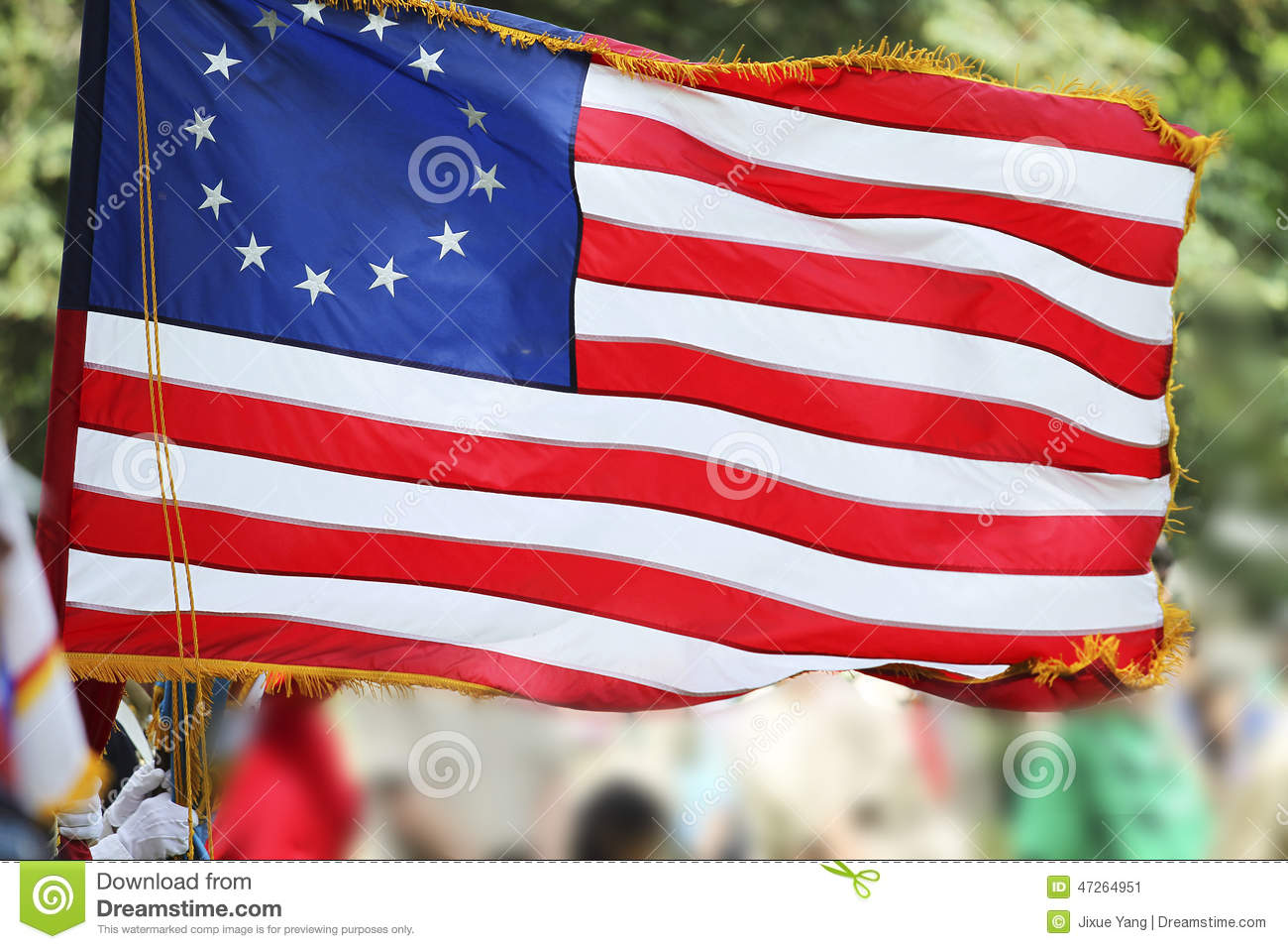 Betsy Ross Flag With Thirteen Stars and Stripes
