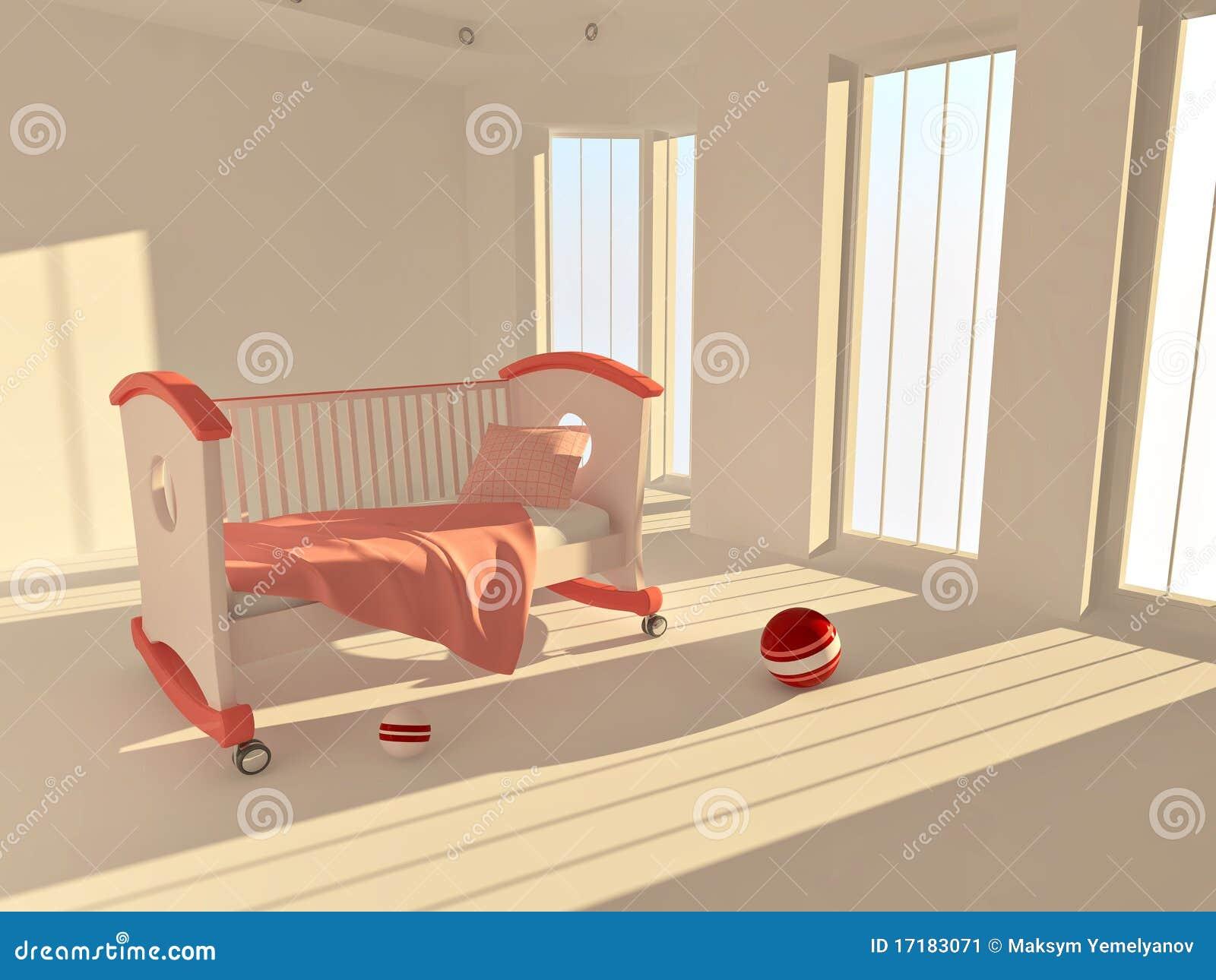 Bett der kinder in einem leeren raum beleuchtet durch for Bett 3 kinder