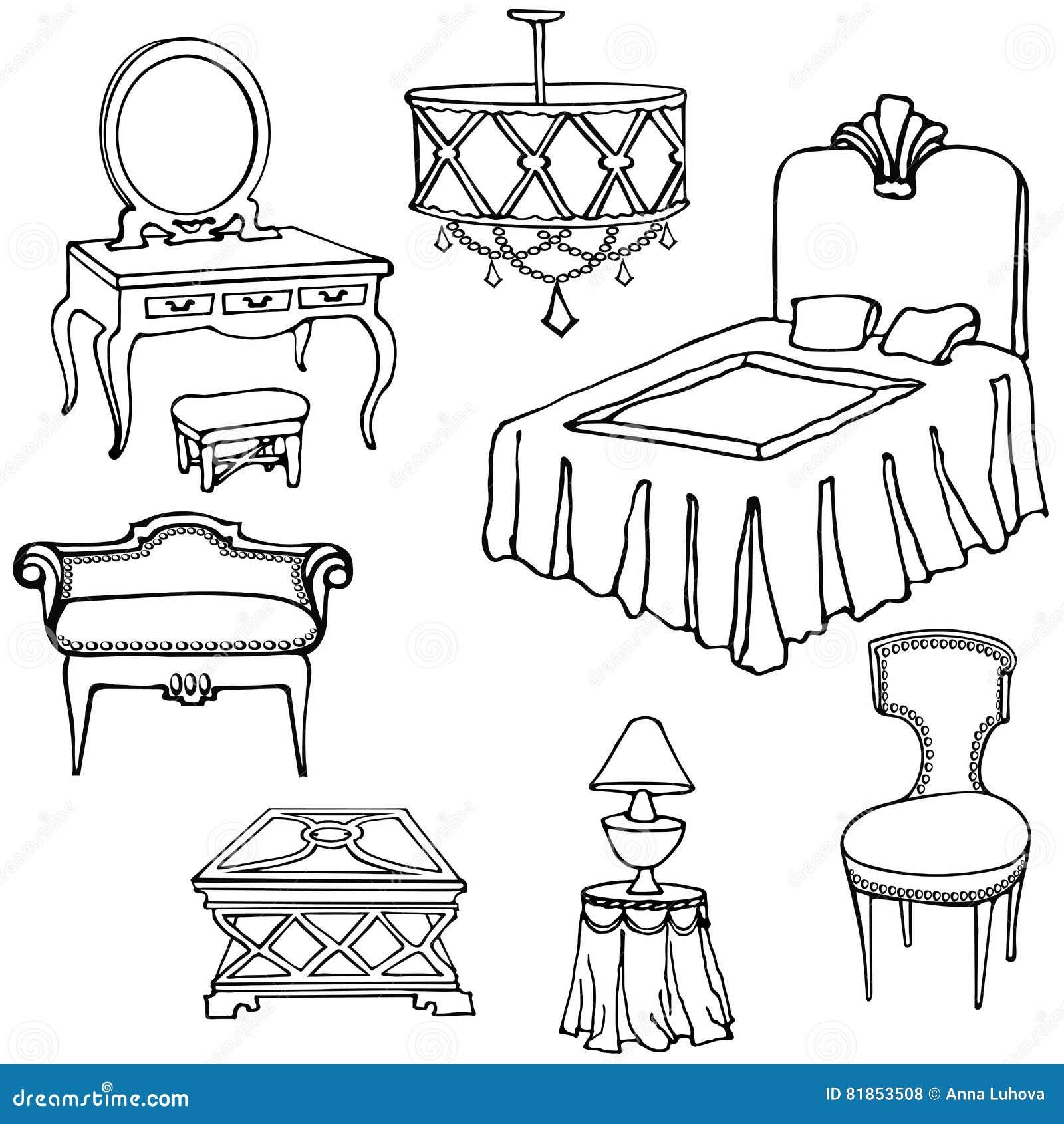 Bett Der Möbel Zweite Vektor Abbildung Illustration Von Karten