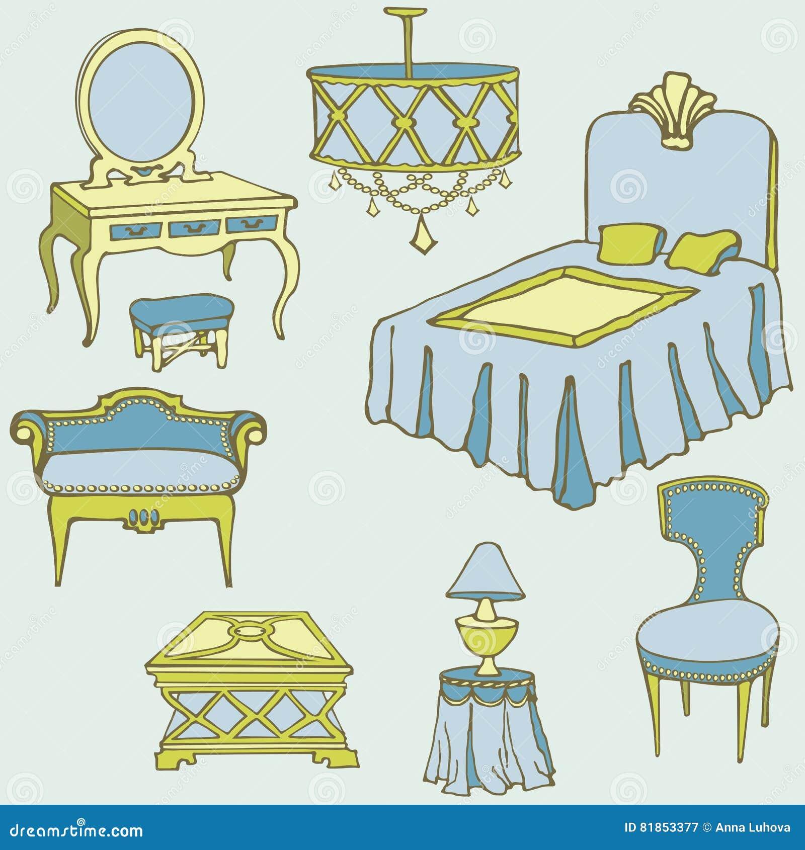 Bett Farbblau Der Möbel Zweite Vektor Abbildung Illustration Von