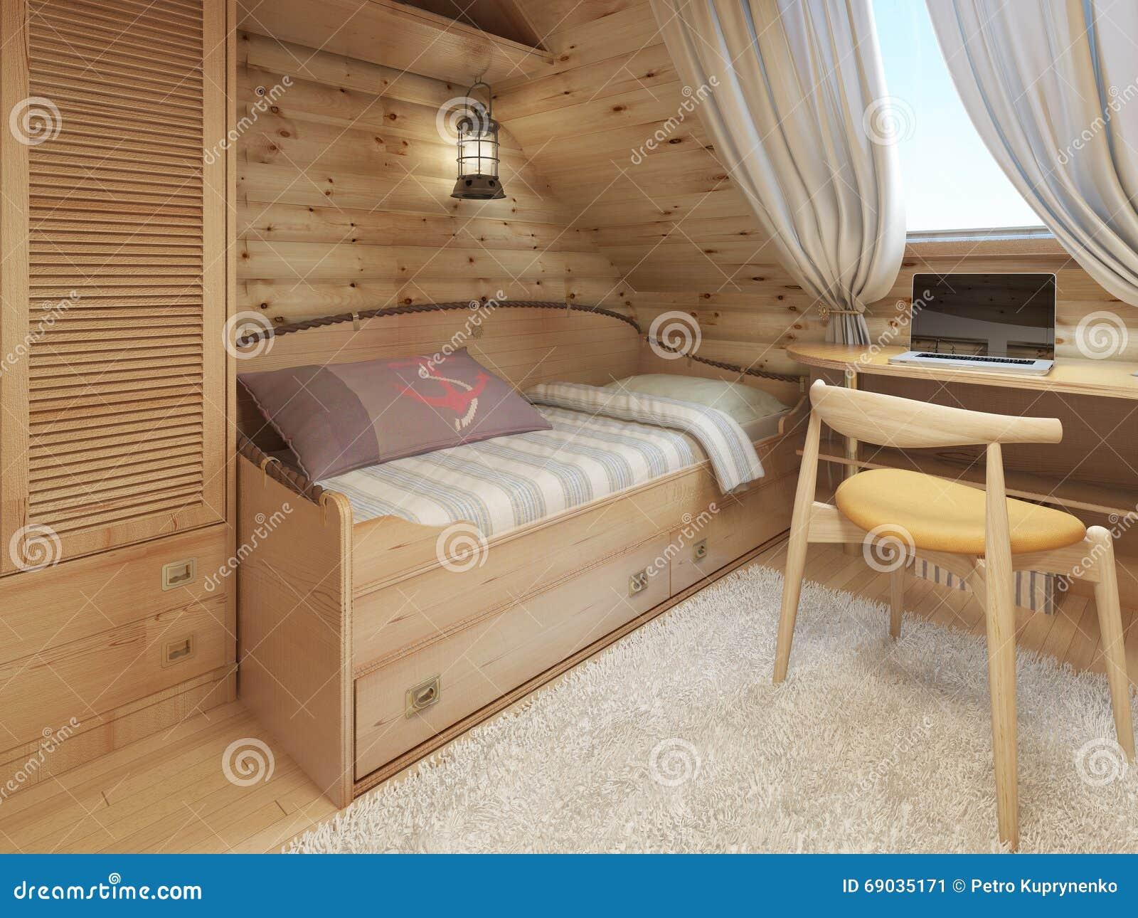 Bett Und Schreibtisch Im Kinderzimmer In Einem Blockhaus Im