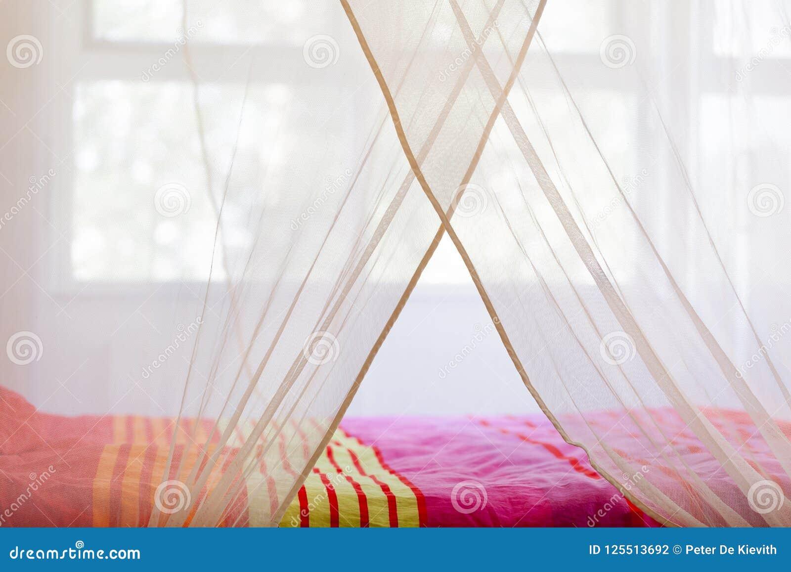 Bett unter einem Moskitonetz