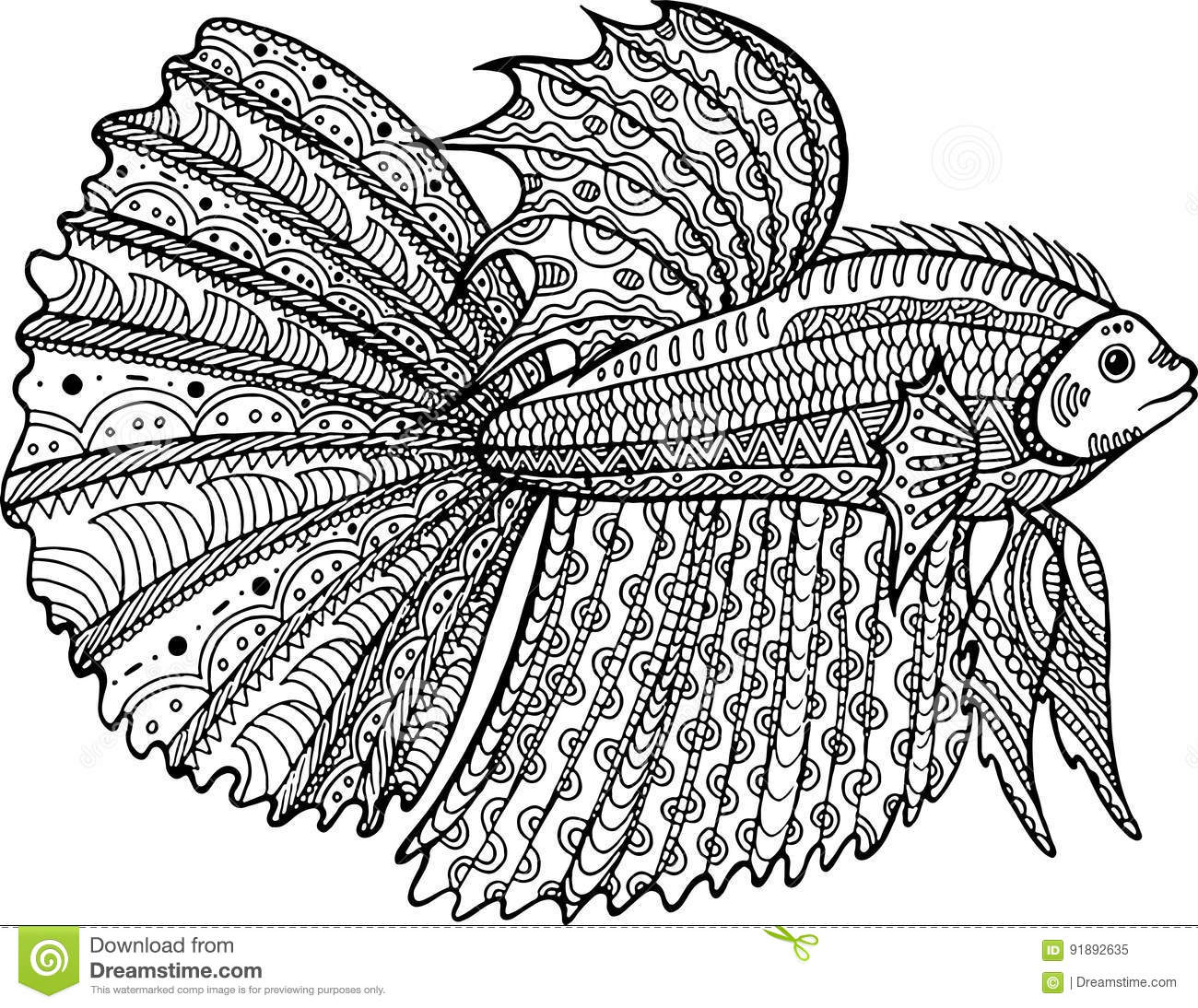 Betta Fish Hand Drawn Coloring Page Stock Vector
