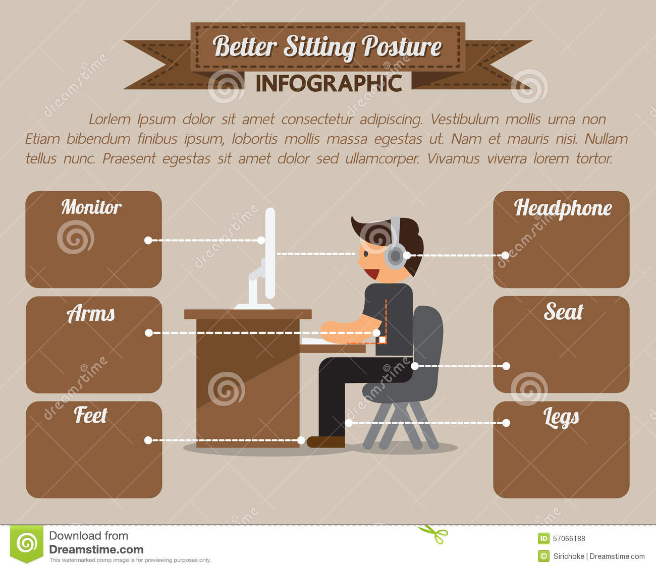 Better Sitting Posture Infographic Stock Photo Image