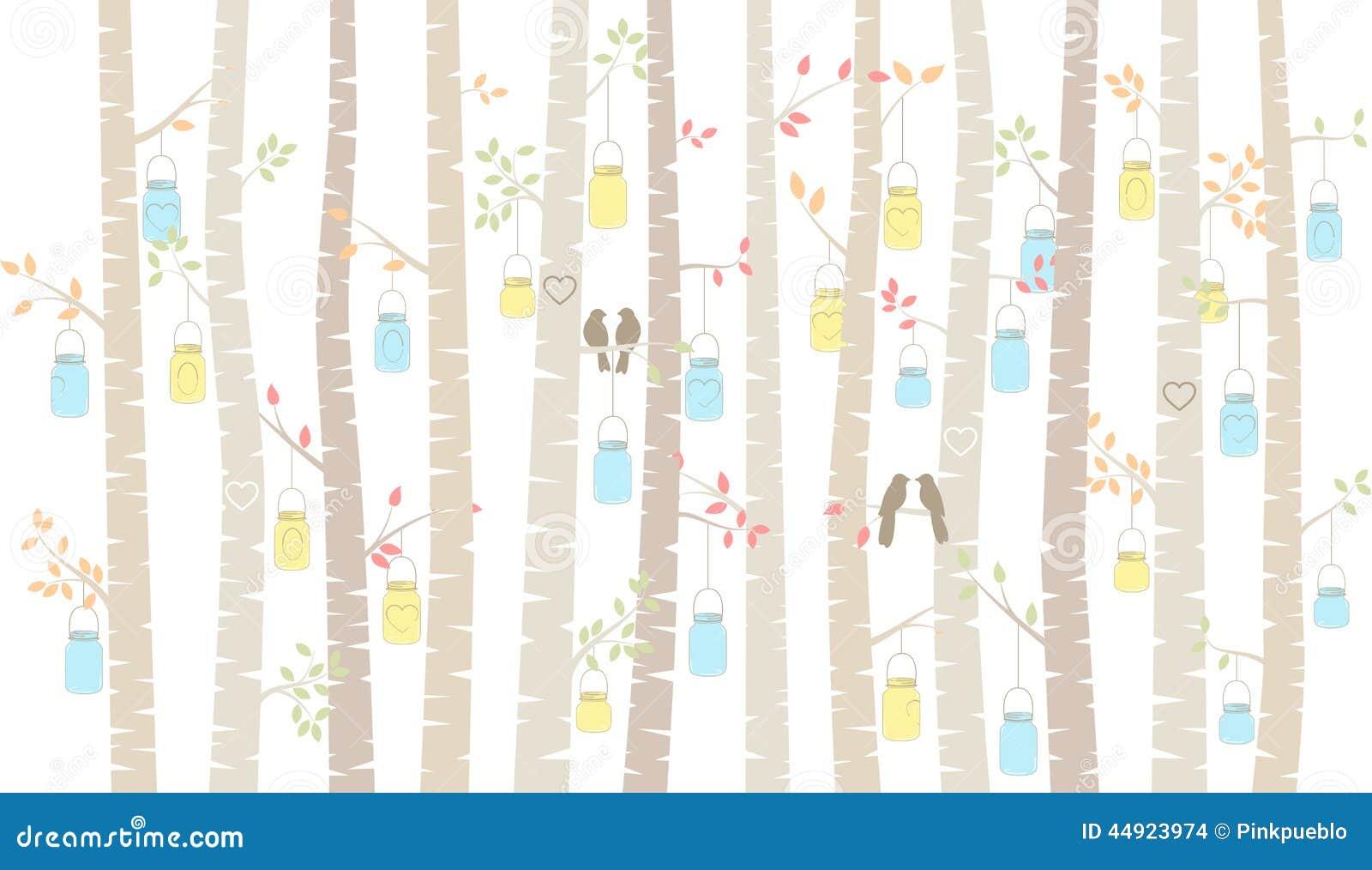 Betulla o Aspen Trees di vettore con l attaccatura degli uccelli di amore e di Mason Jars