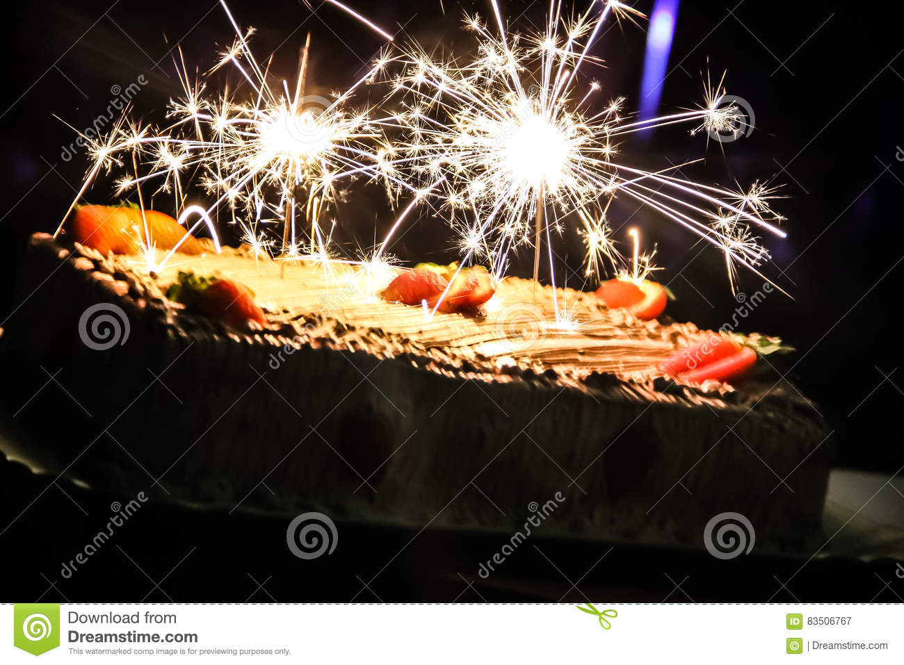 Super A Beutiful Birthday Cake Sparkling Stock Image Image Of Fire Funny Birthday Cards Online Aboleapandamsfinfo