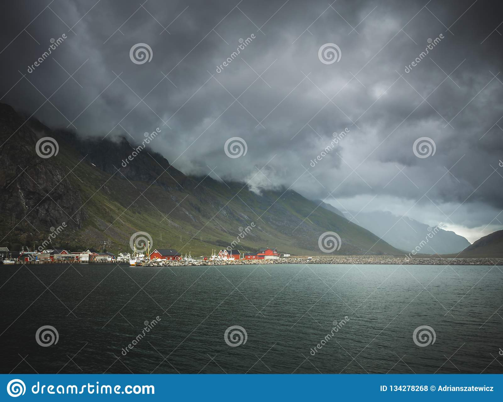 Beutiful Lofoten islands, traditional red houses