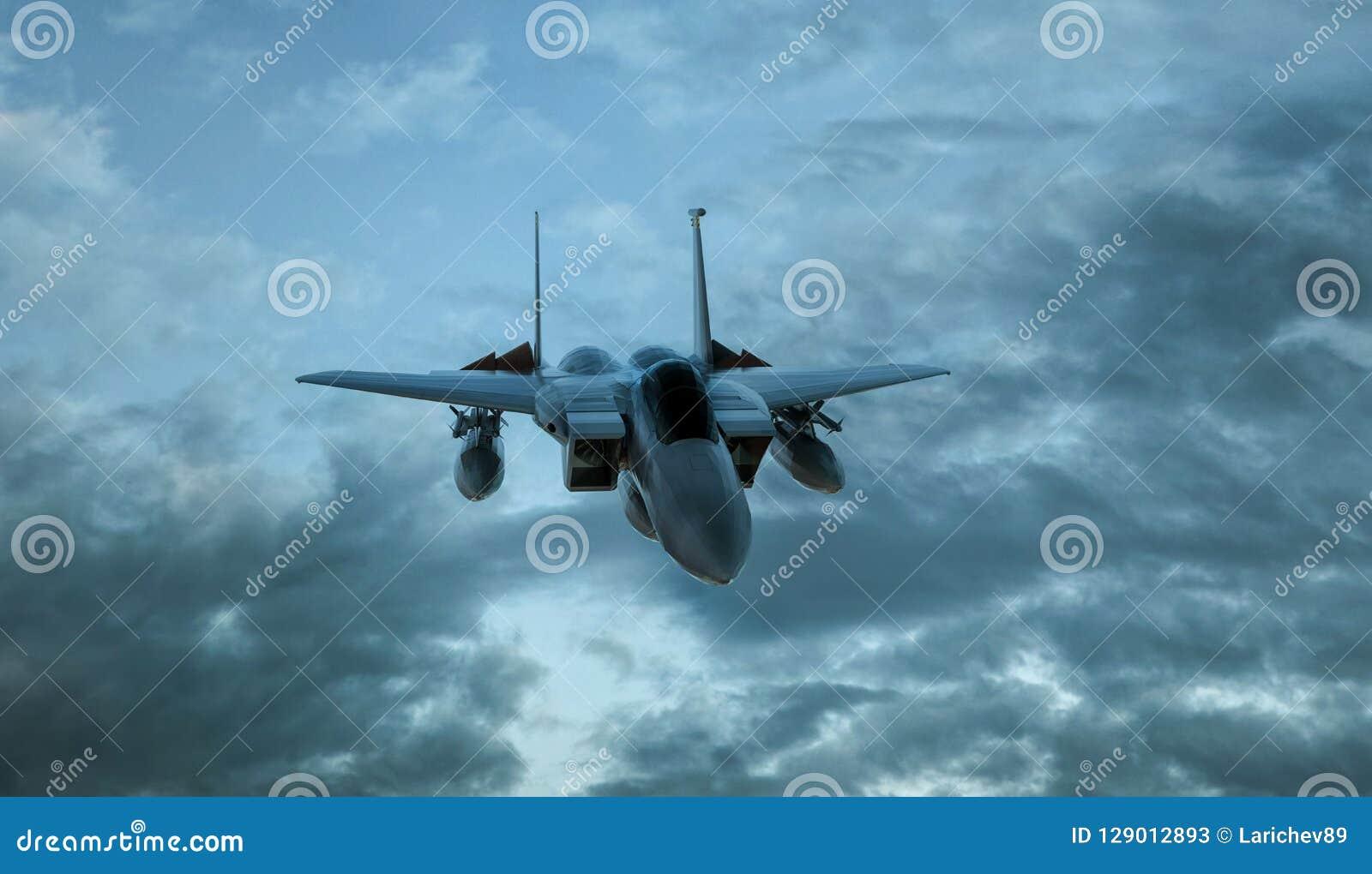 Beväpnad militär jaktflygplan i flykten på cloudly himmelbakgrunden - 3d framför