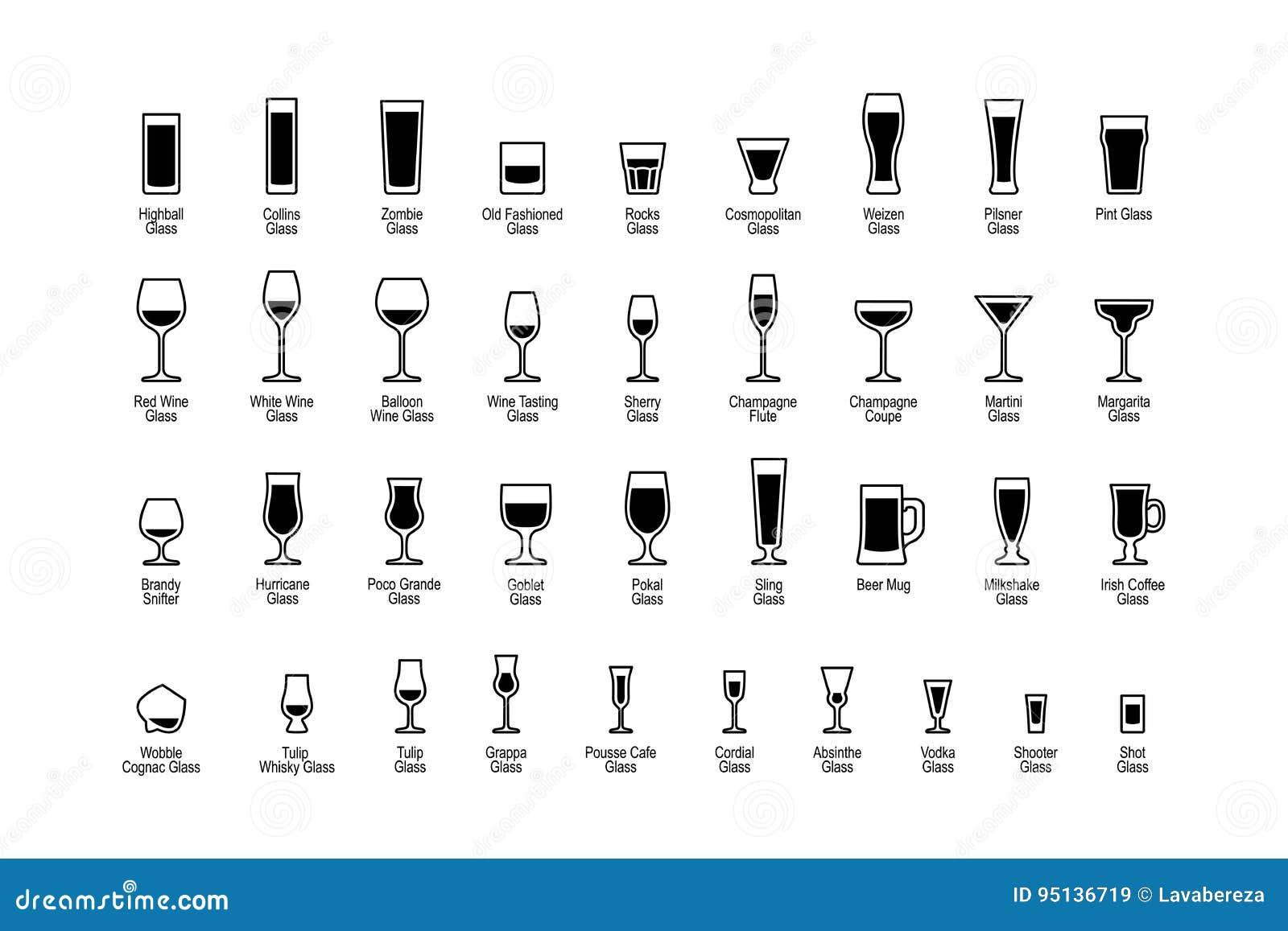 Beva i vetri con i titoli, icone in bianco e nero messe