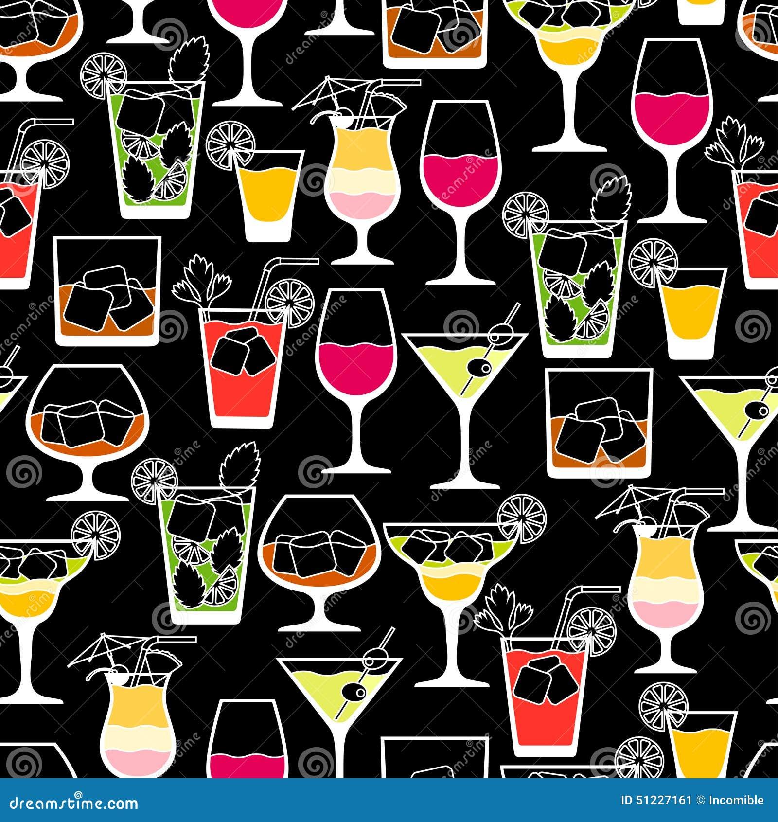 Bevande dell alcool e modello senza cuciture dei cocktail dentro